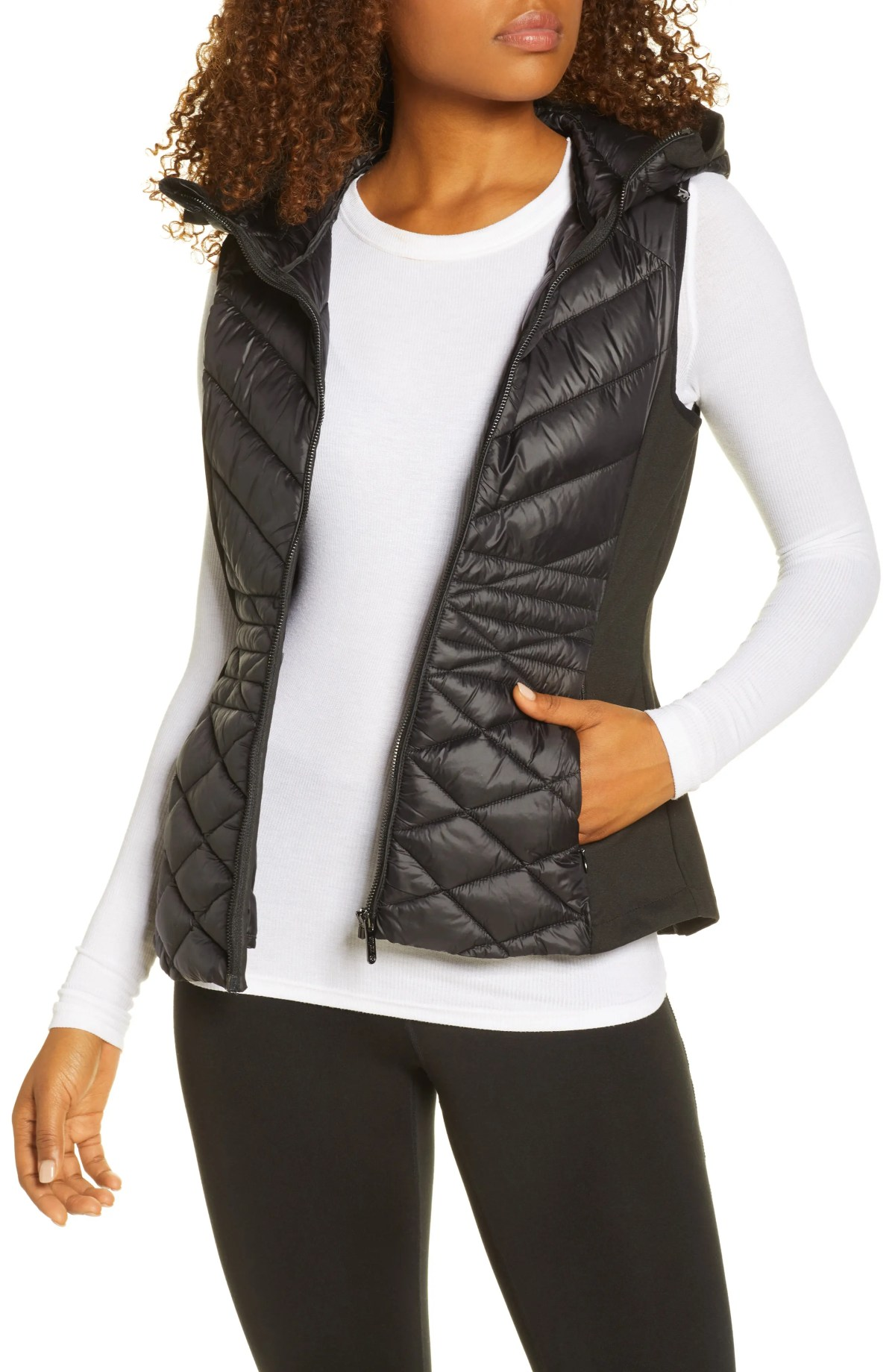 ZELLA Hybrid Quilted Performance Vest, Main, color, BLACK