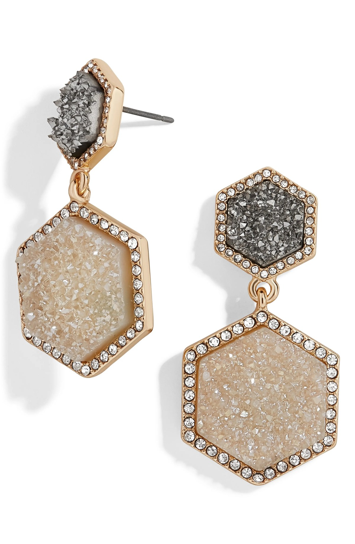 Ashaya Hexagon Drusy Drop Earrings, Main, color, GRAY