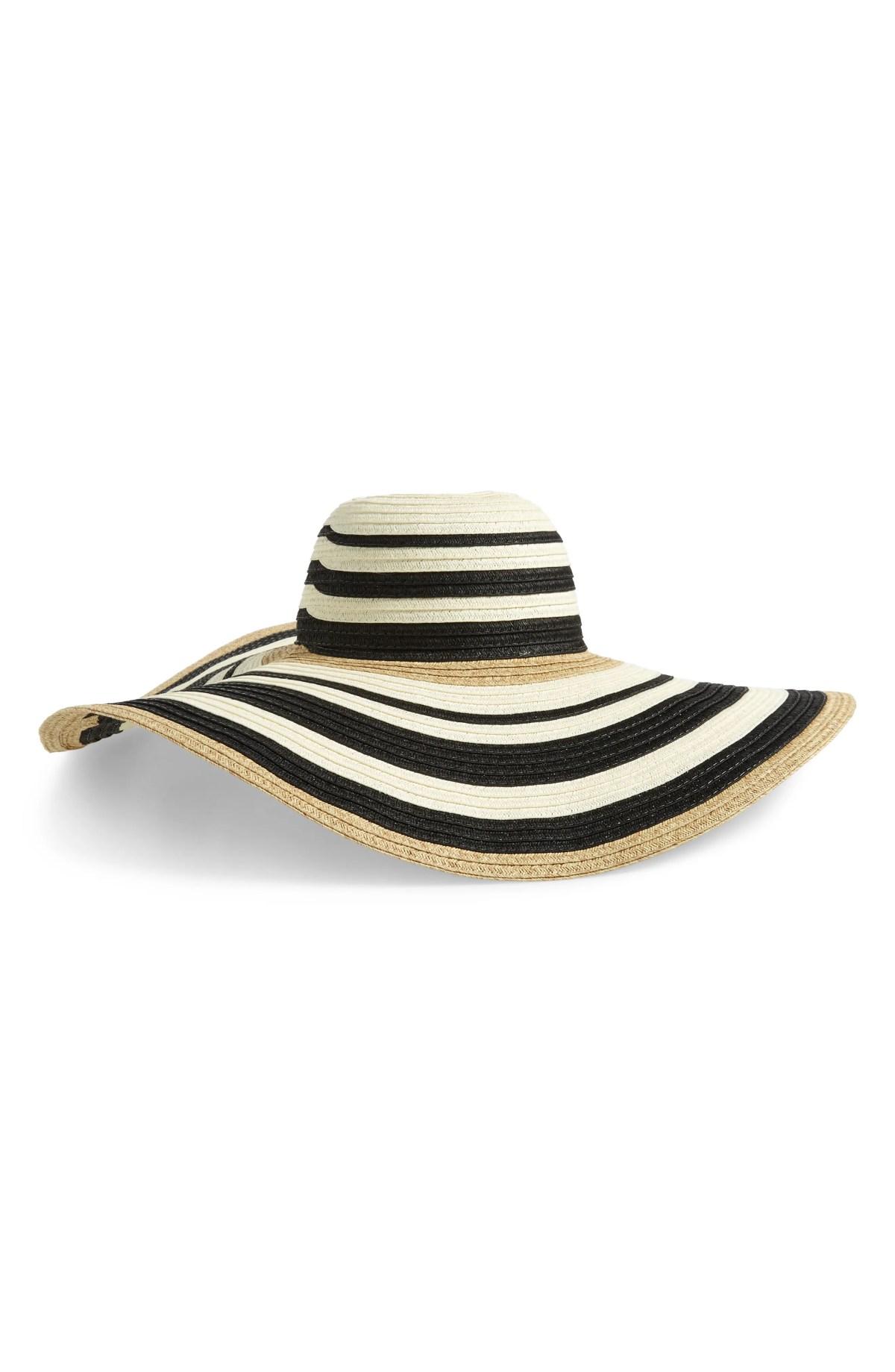 Modern Stripe Floppy Hat, Main, color, BLACK COMBO