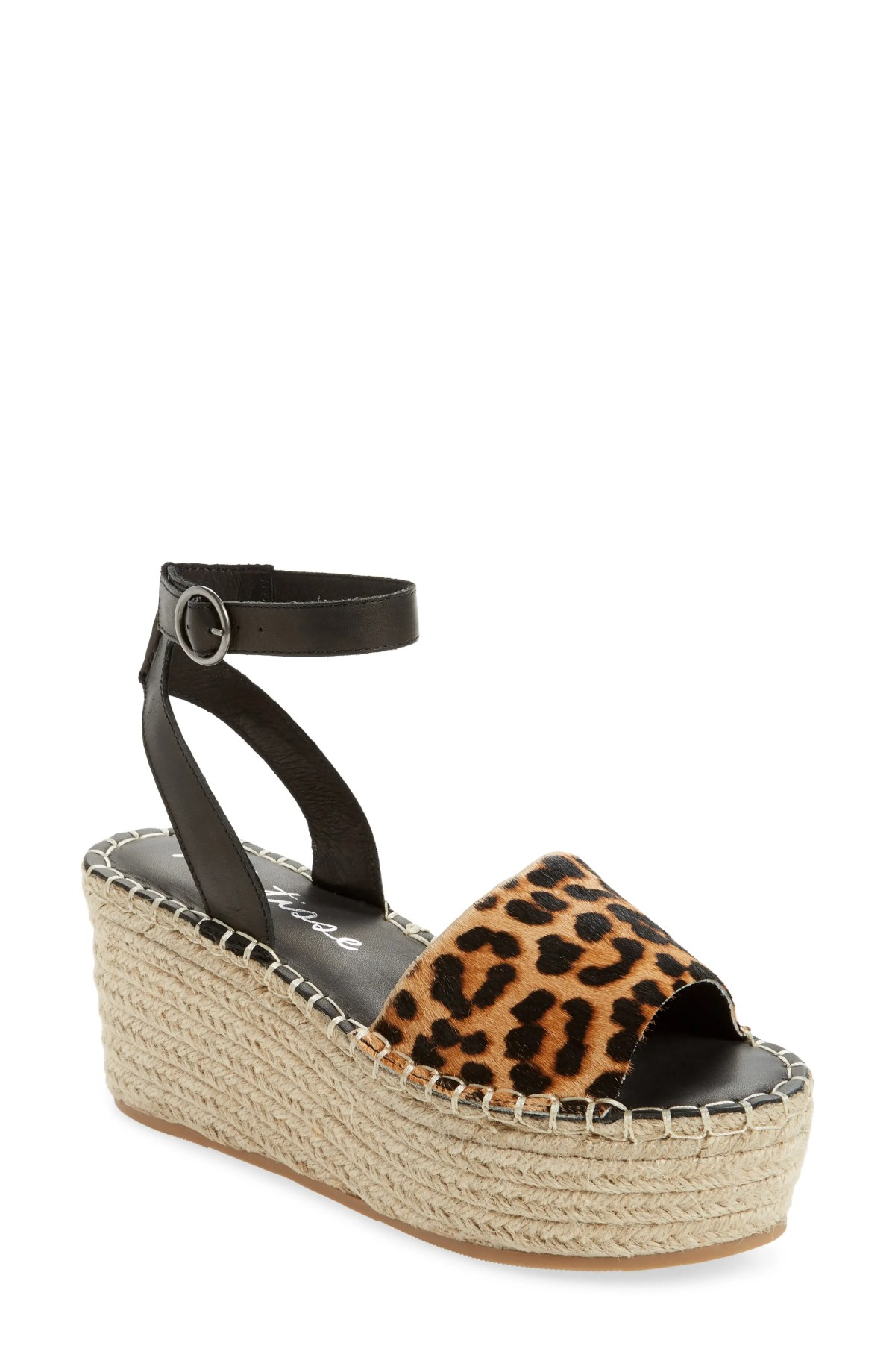 MATISSE Trapeze Ankle Strap Platform Sandal, Main, color, BLACK CALF HAIR