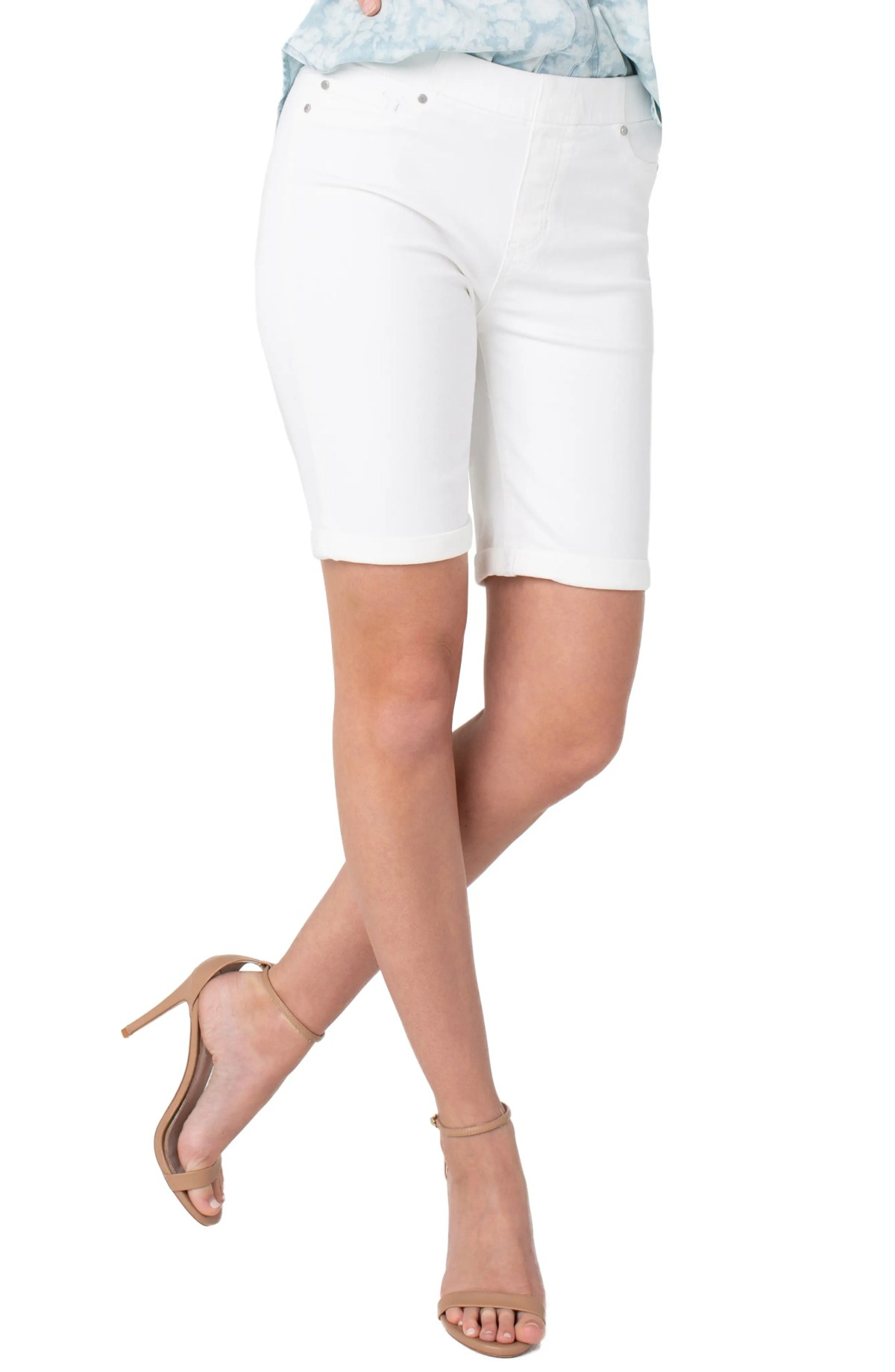LIVERPOOL Chloe Pull-On Bermuda Shorts, Main, color, BRIGHT WHITE