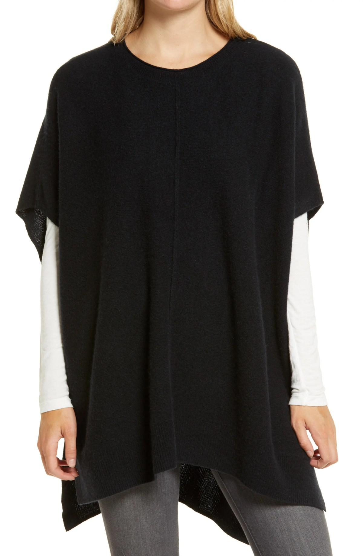 NORDSTROM High/Low Wool & Cashmere Poncho, Main, color, BLACK