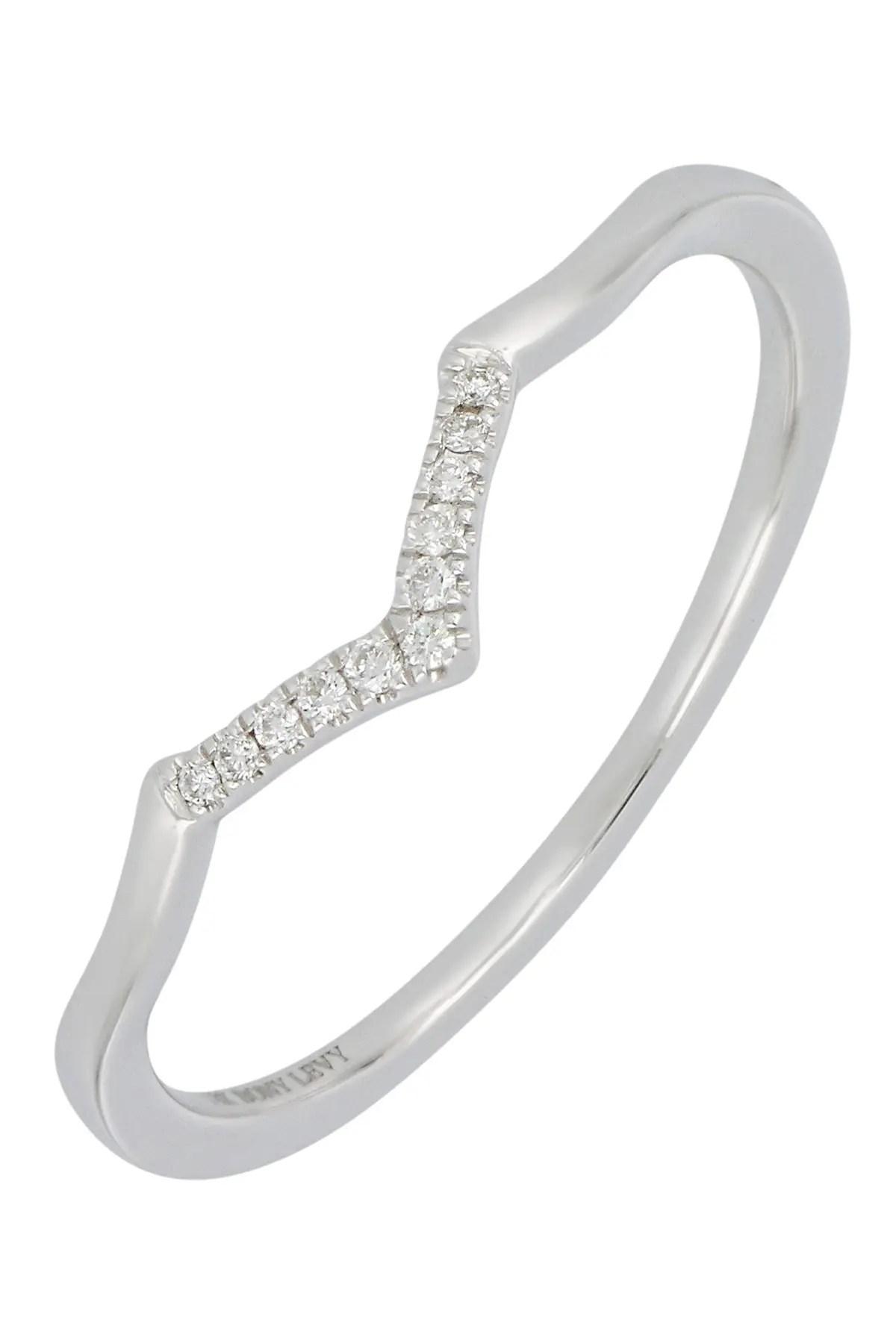 bony levy 18k white gold pave diamond v shape ring 0 04 ctw nordstrom rack
