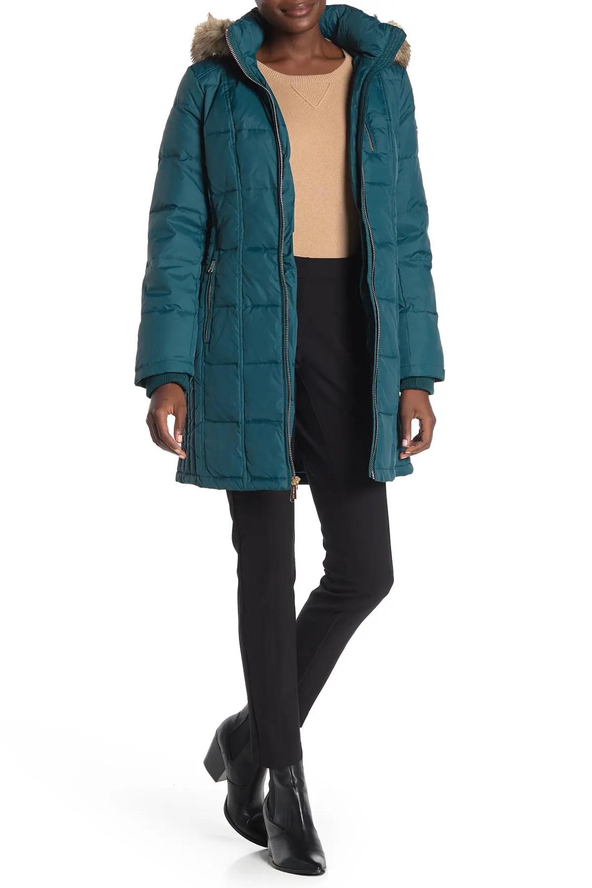 michael michael kors faux fur trim hooded down puffer jacket nordstrom rack