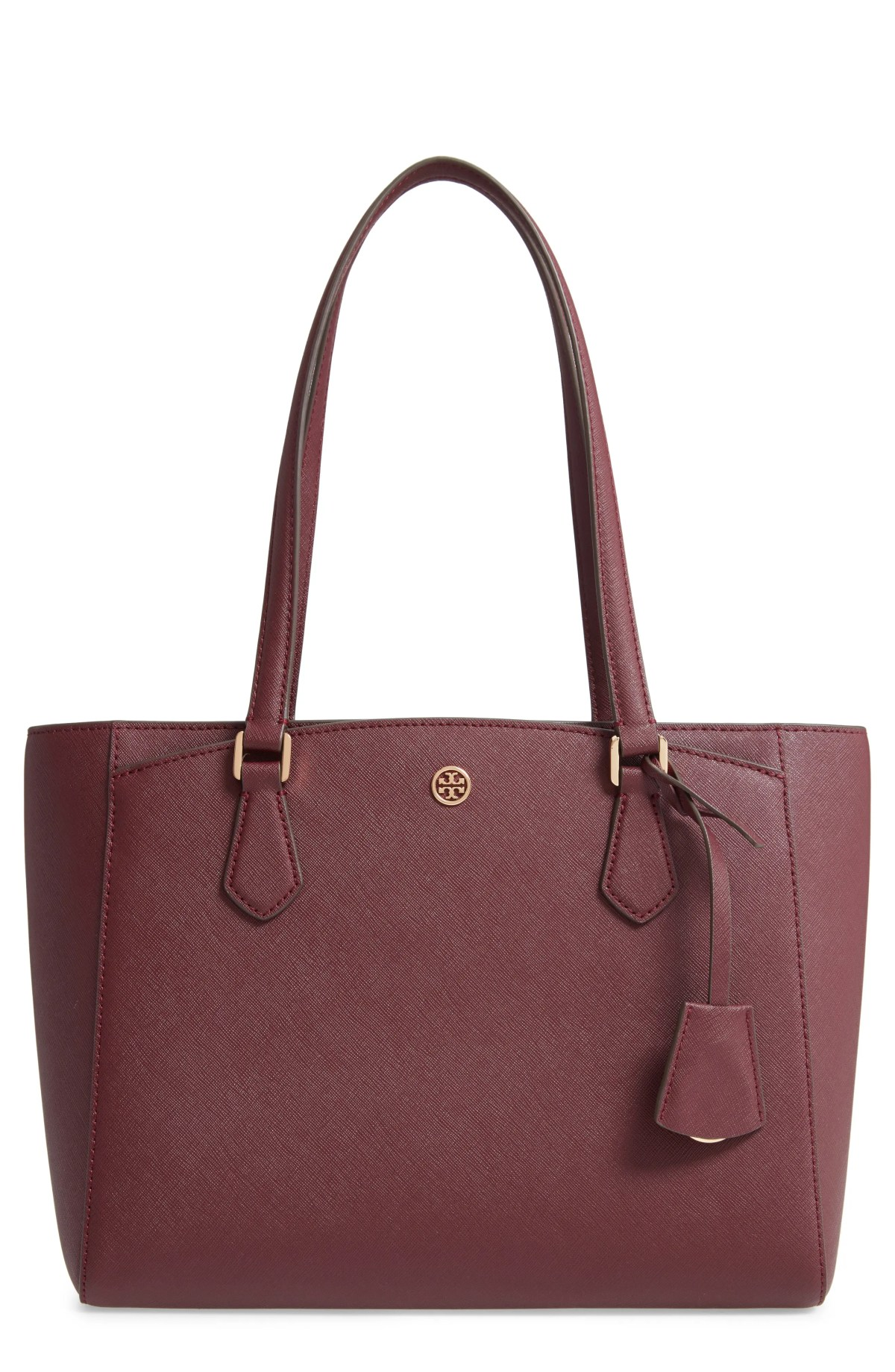 TORY BURCH Small Robinson Saffiano Leather Tote, Main, color, PORT