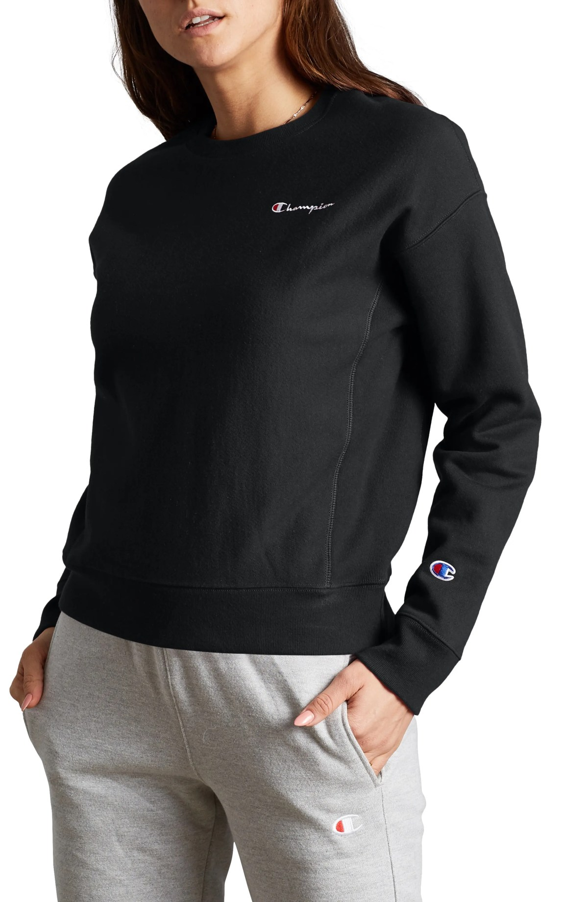 CHAMPION Reverse Weave<sup>®</sup> Fleece Sweatshirt, Main, color, BLACK