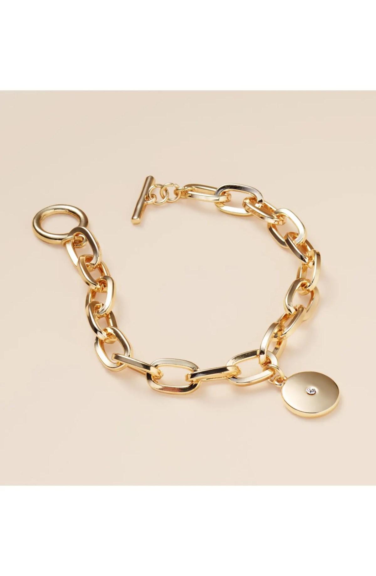 Medallion Charm Bracelet, Alternate, color, CLEAR- GOLD