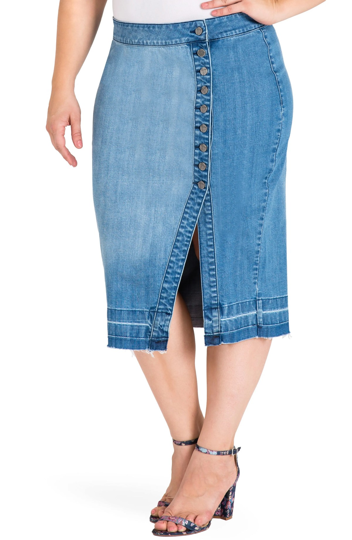 Harley Denim Midi Skirt, Main, color, LIGHT BLUE