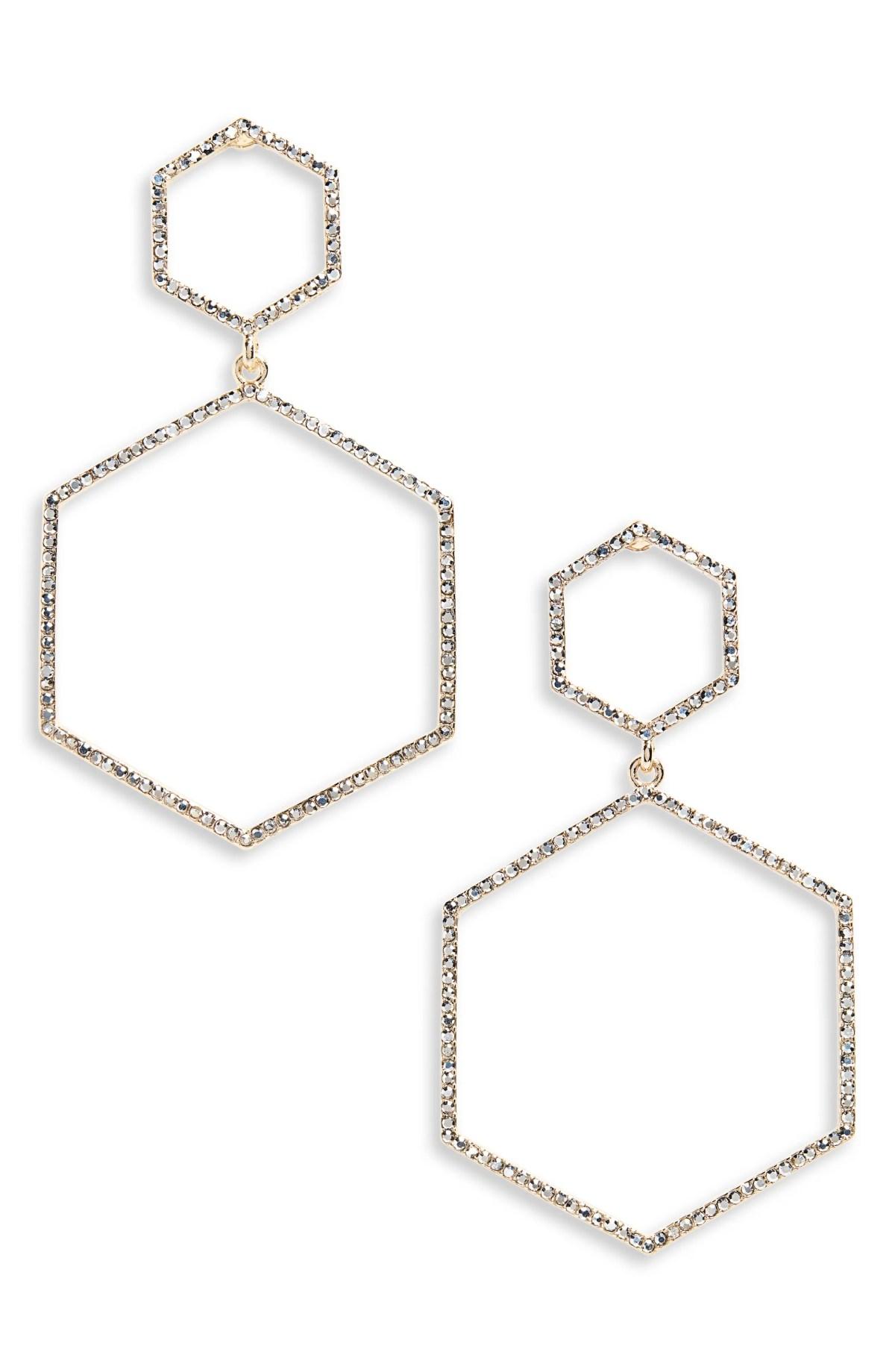 PANACEA Crystal Hexagon Earrings, Main, color, GOLD