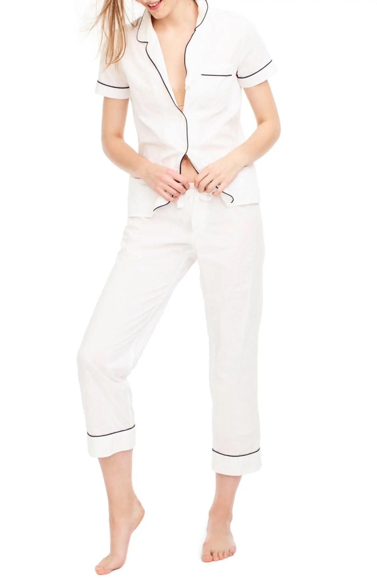 Vintage Cotton Pajamas, Main, color, WHITE