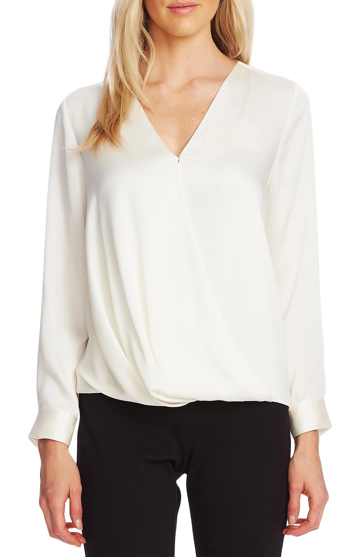 VINCE CAMUTO Faux Wrap Satin Blouse, Main, color, PEARL IVORY