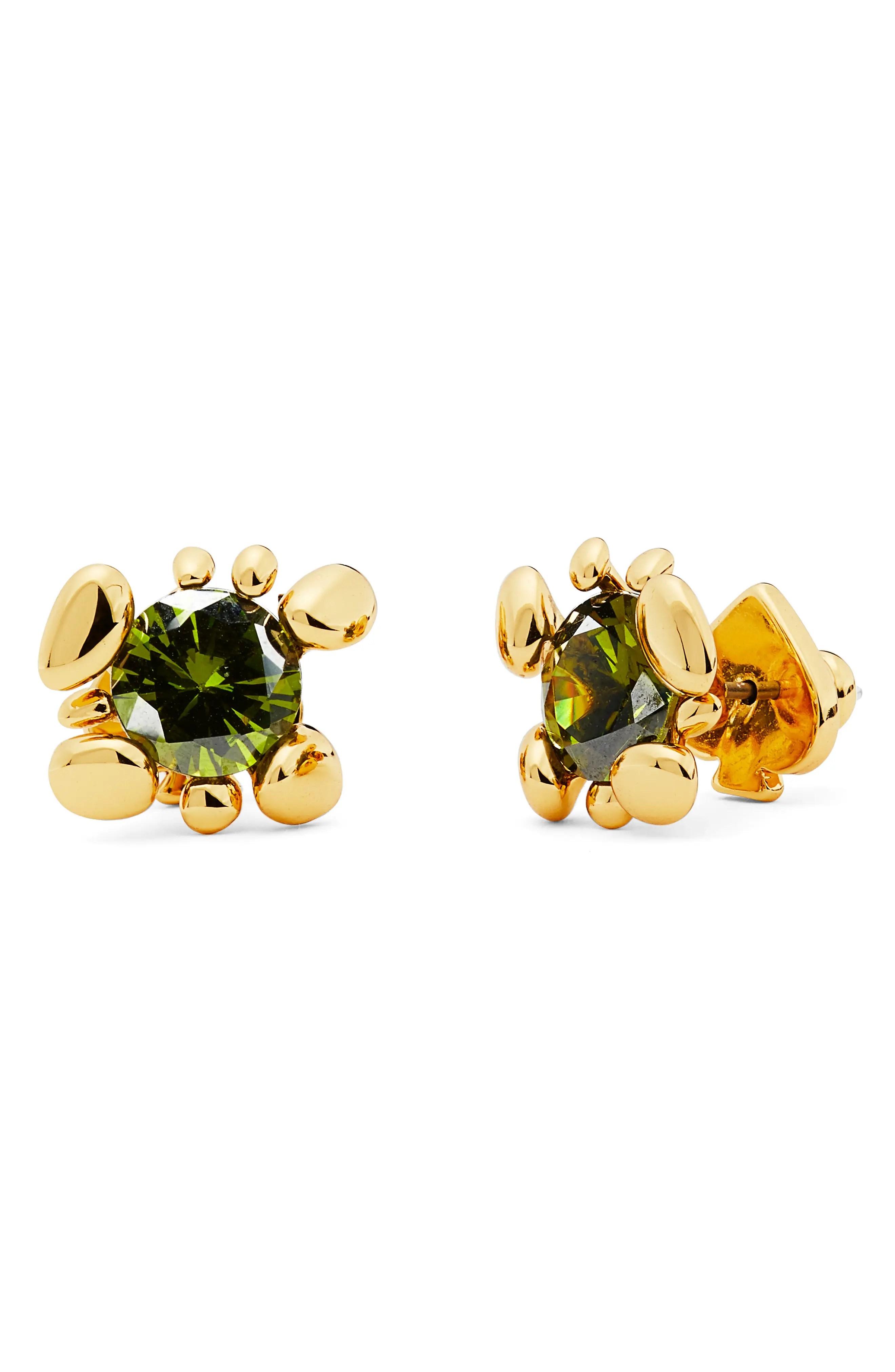 kate spade new york forest nouveau green cz stud earrings nordstrom rack