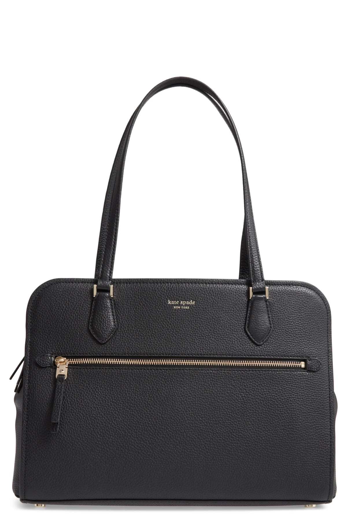 KATE SPADE NEW YORK large polly leather tote, Main, color, BLACK