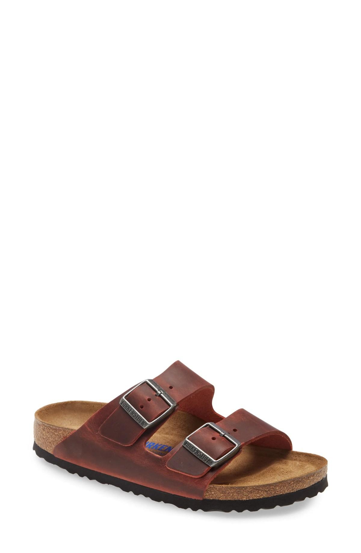 BIRKENSTOCK Arizona Soft Footbed Sandal, Main, color, RED LEATHER