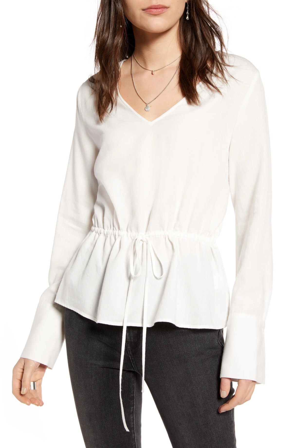 TREASURE & BOND Tie Waist Peplum Blouse, Main, color, IVORY