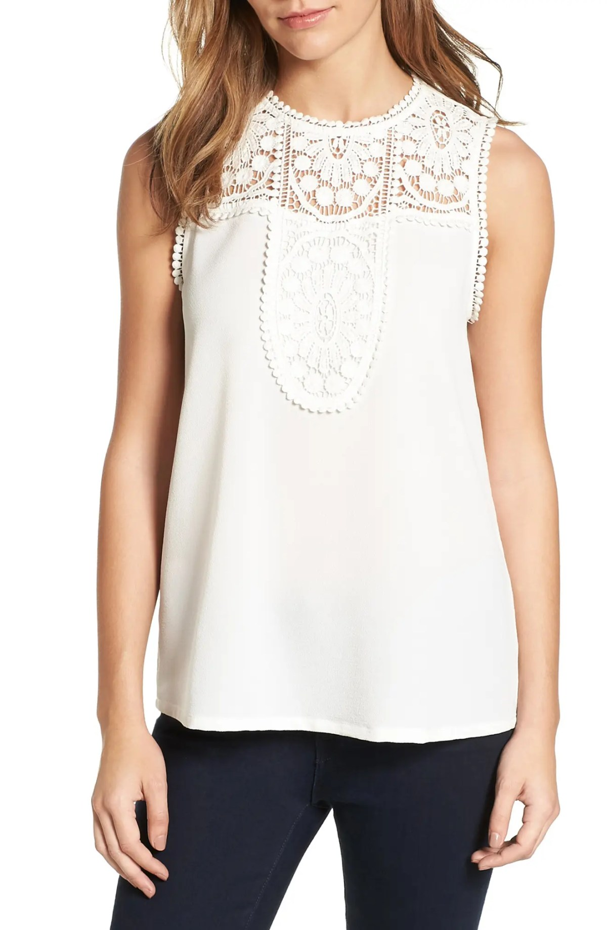 Lace & Crepe Top, Main, color, IVORY CLOUD