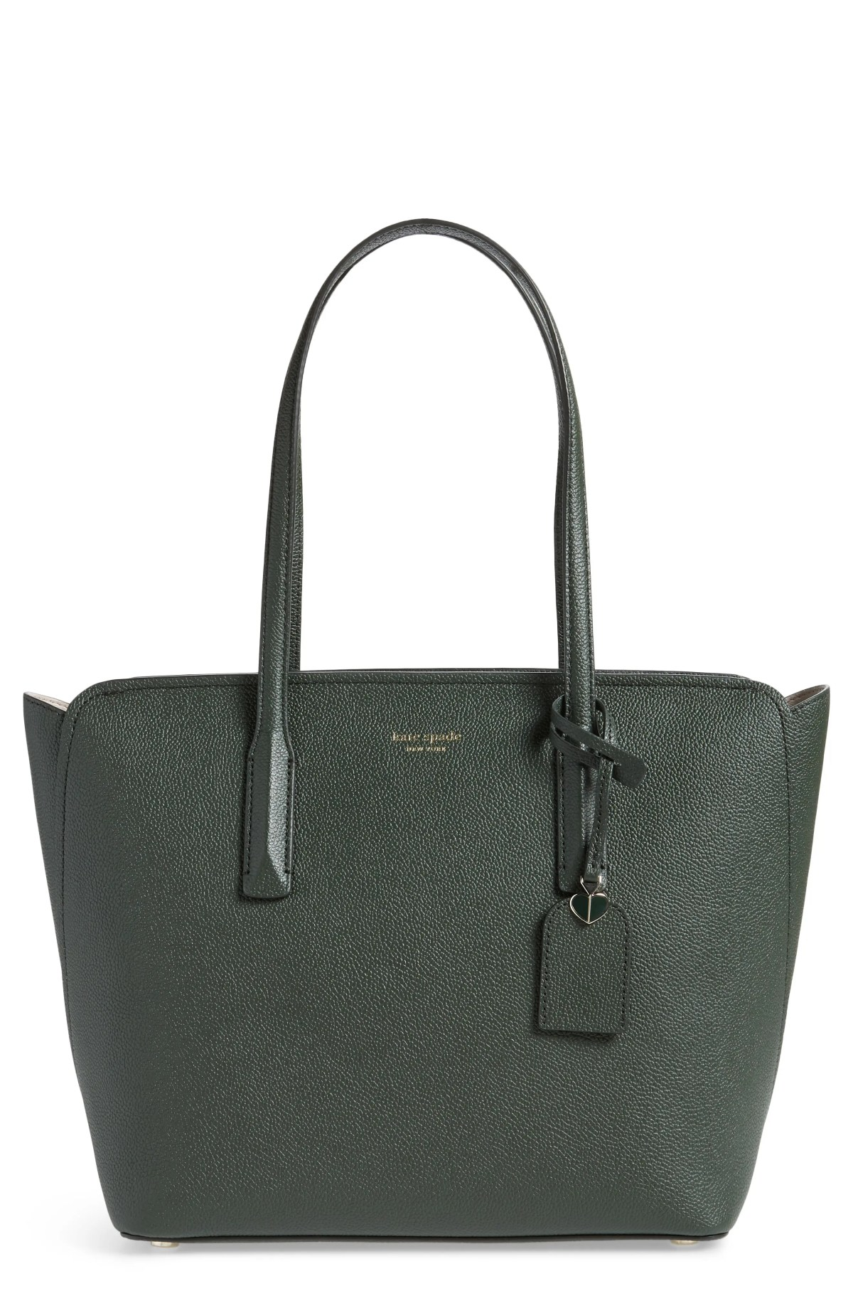 KATE SPADE NEW YORK medium margaux leather tote, Main, color, DEEP EVERGREEN