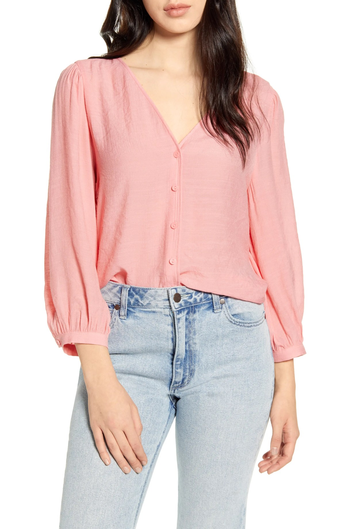BP. Textured Blouson Sleeve Top, Main, color, PINK BERRY ICE
