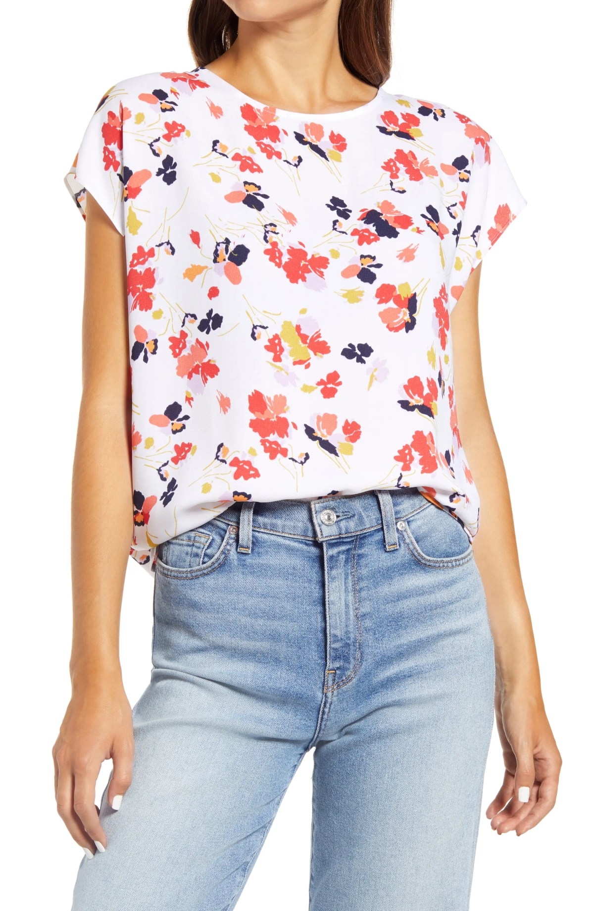 HALOGEN<SUP>®</SUP> Cap Sleeve Blouse, Main, color, IVORY MULTI FLORAL