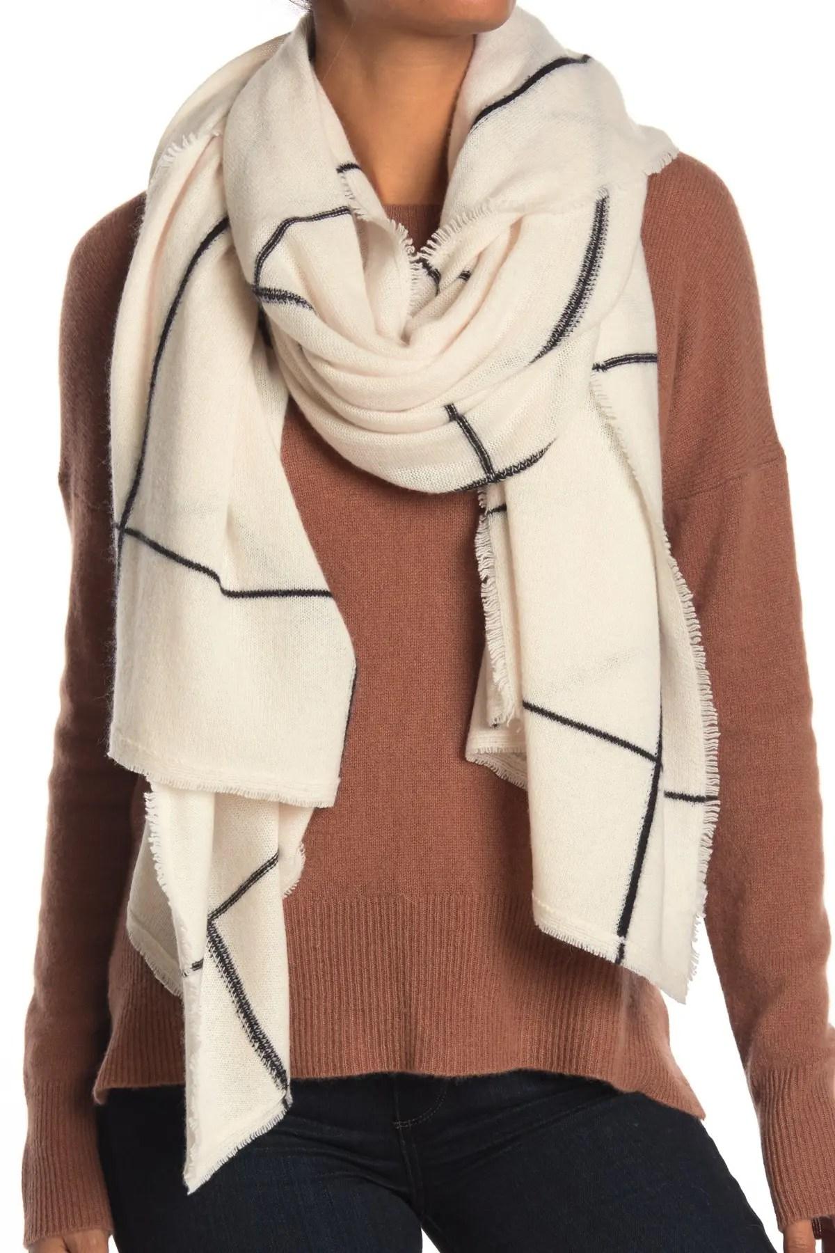 naked cashmere sasha windowpane print cashmere scarf nordstrom rack