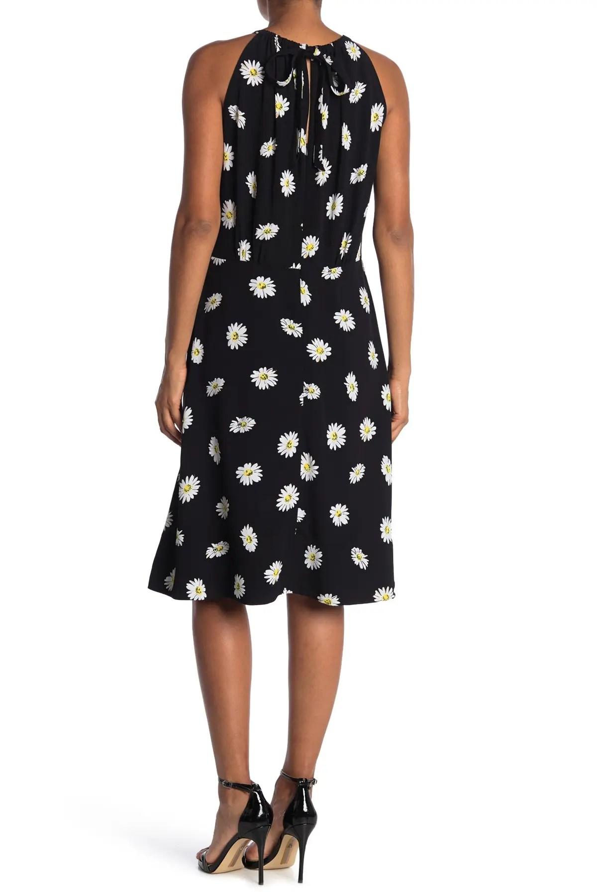 daisy print halter dress