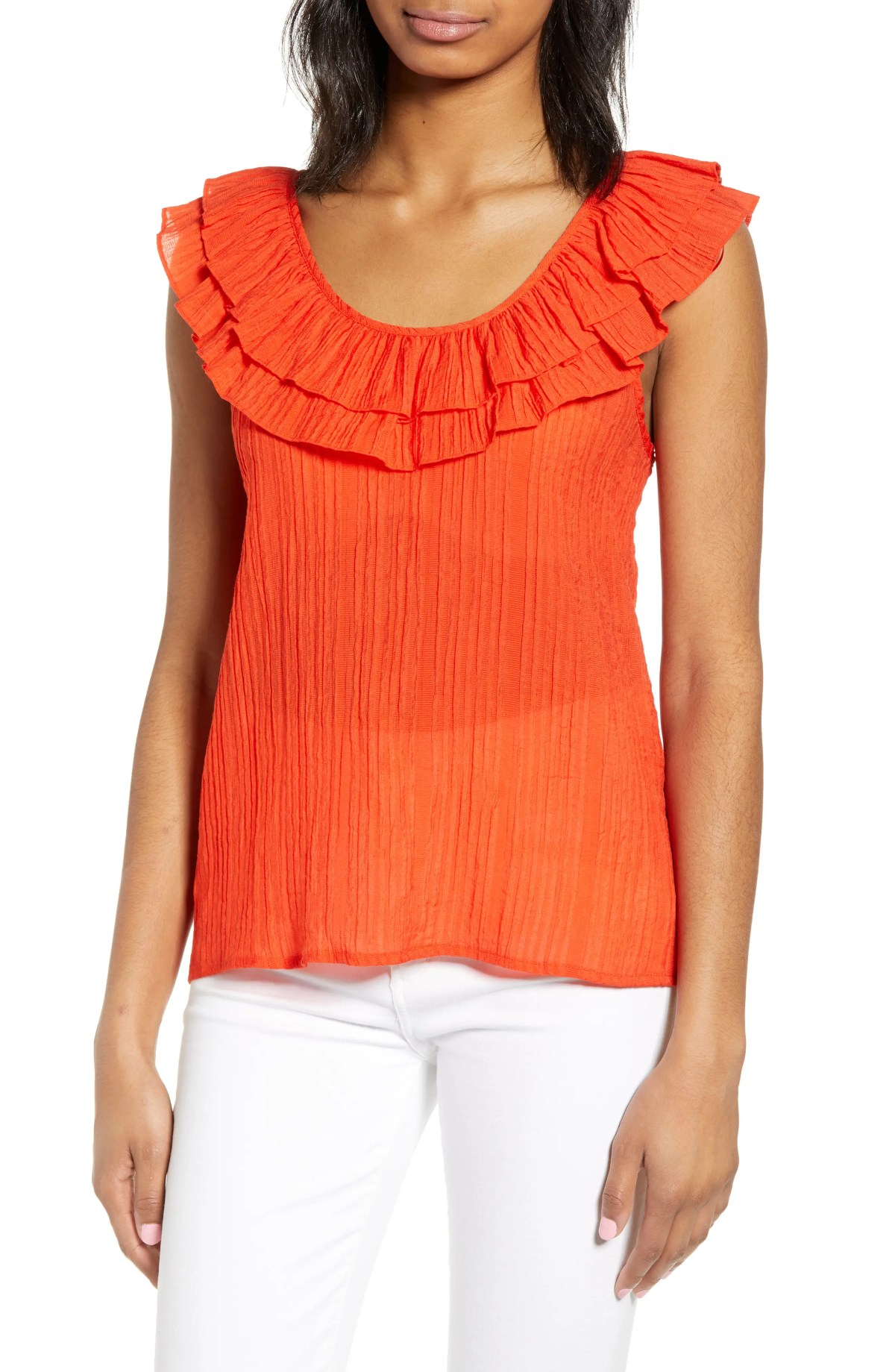 Ruffle Scoop Neck Top, Main, color, ORANGE