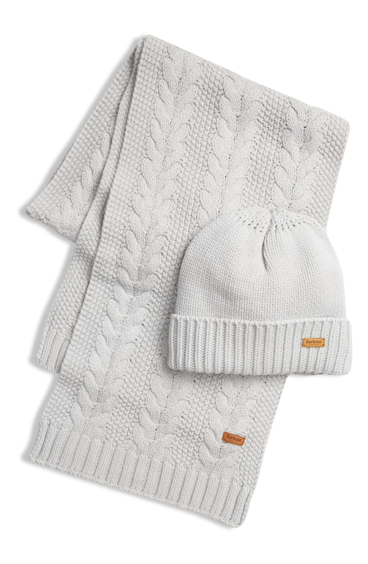 BARBOUR Cable Knit Hat & Scarf Set, Main, color, ICE WHITE