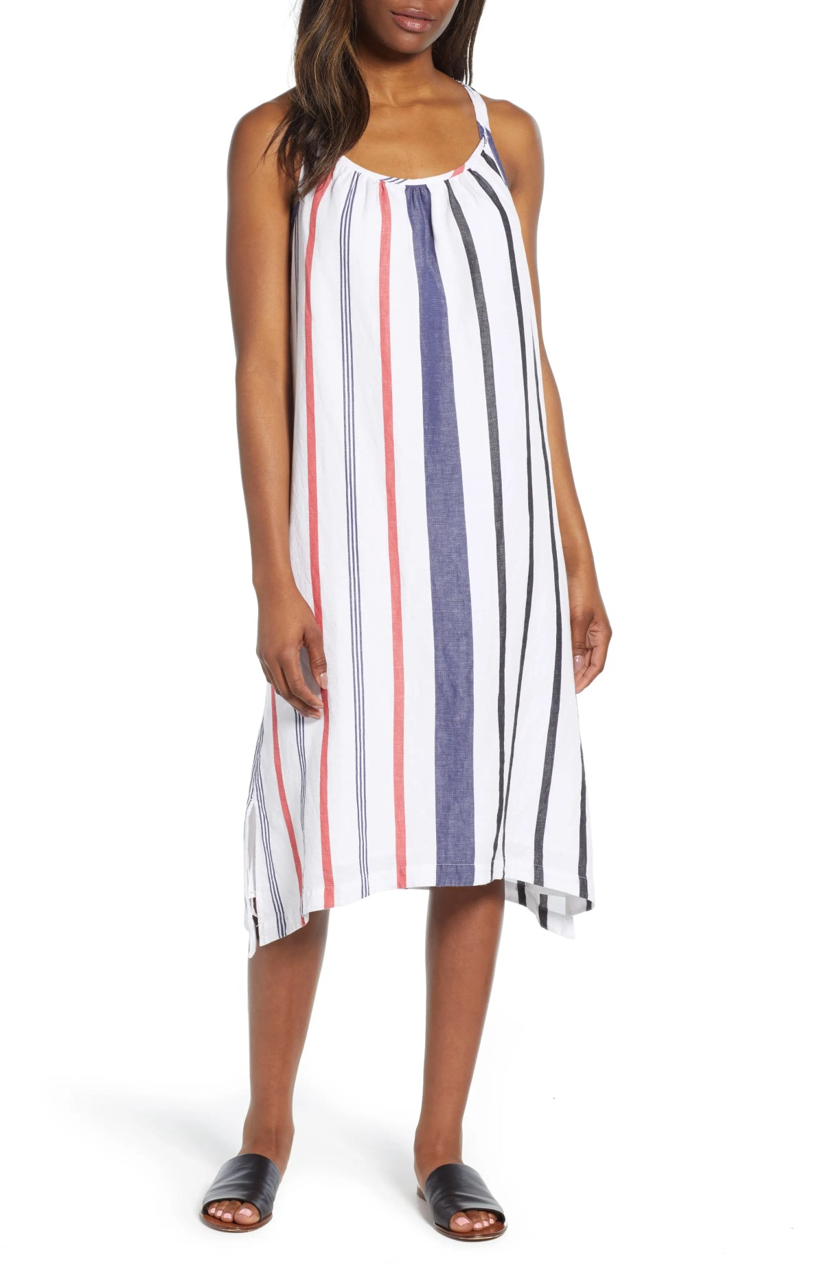Amalia Stripe Midi Sundress, Main, color, WHITE