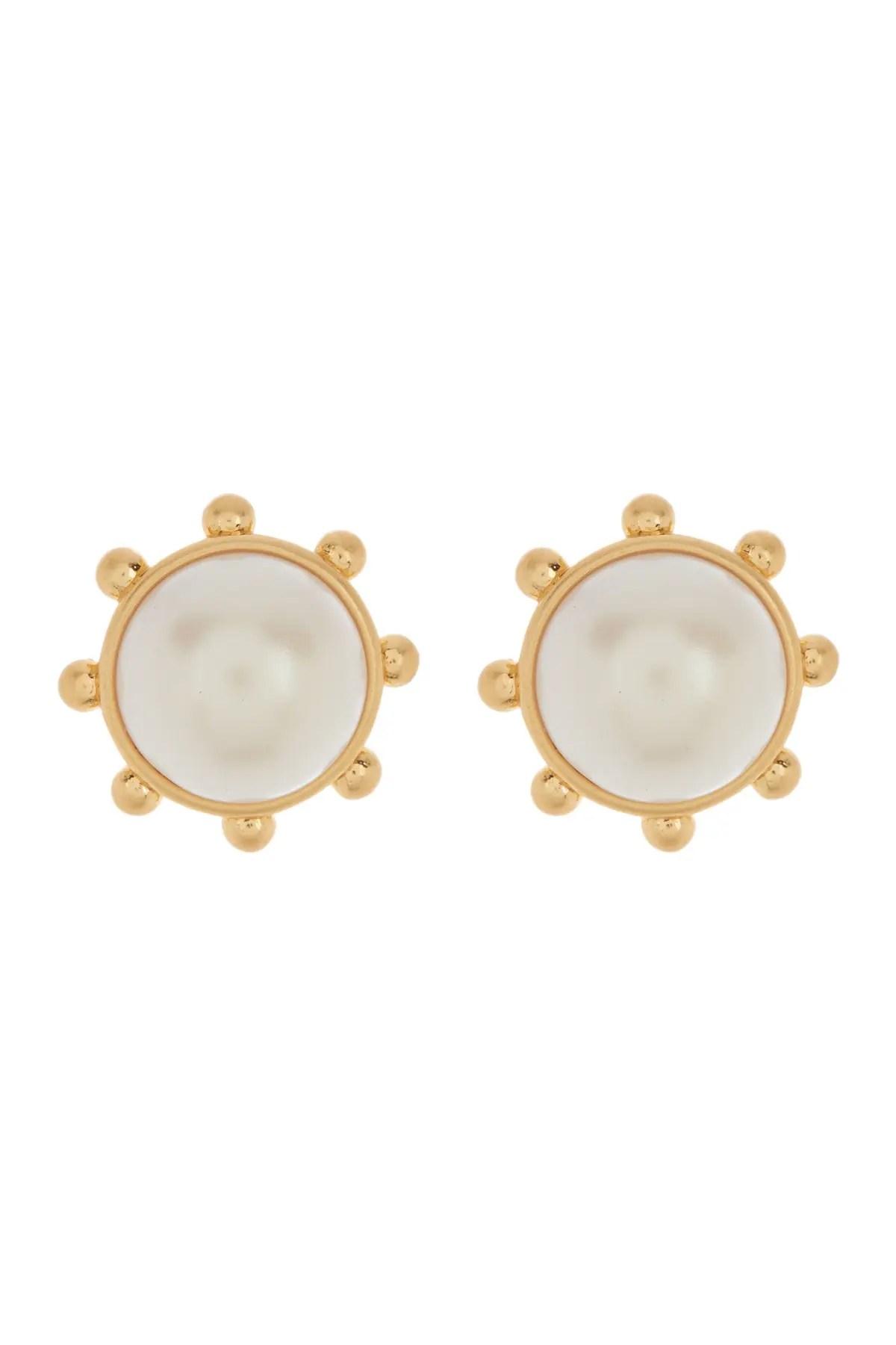 kate spade new york gold tone bezel set initation pearl stud earrings nordstrom rack