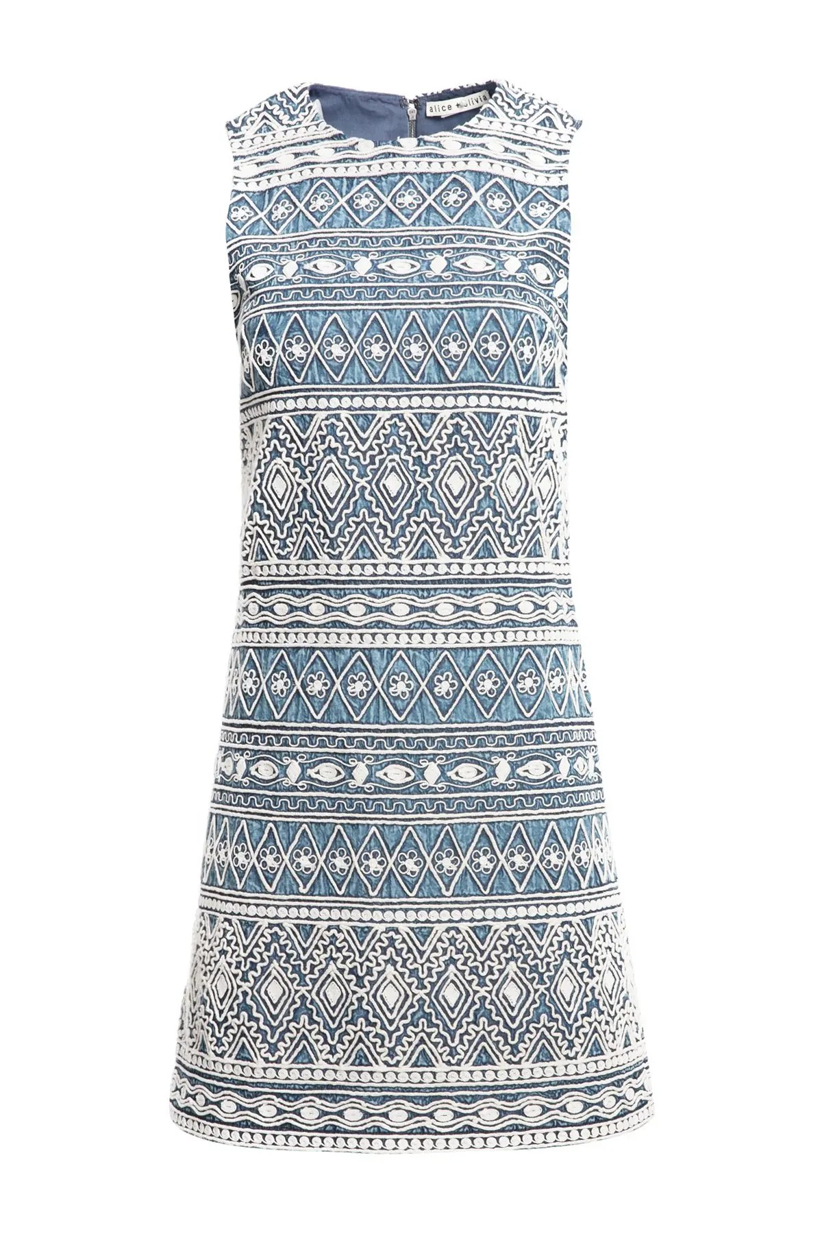 alice olivia coley embroidered sleeveless a line dress nordstrom rack