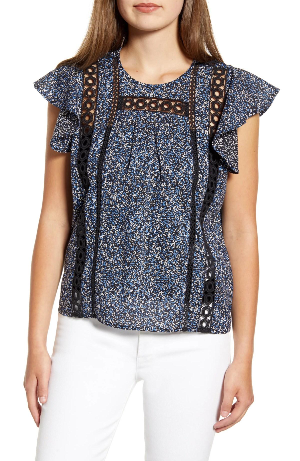 Grace Flutter Sleeve Cotton Top, Main, color, NAVY MULTI