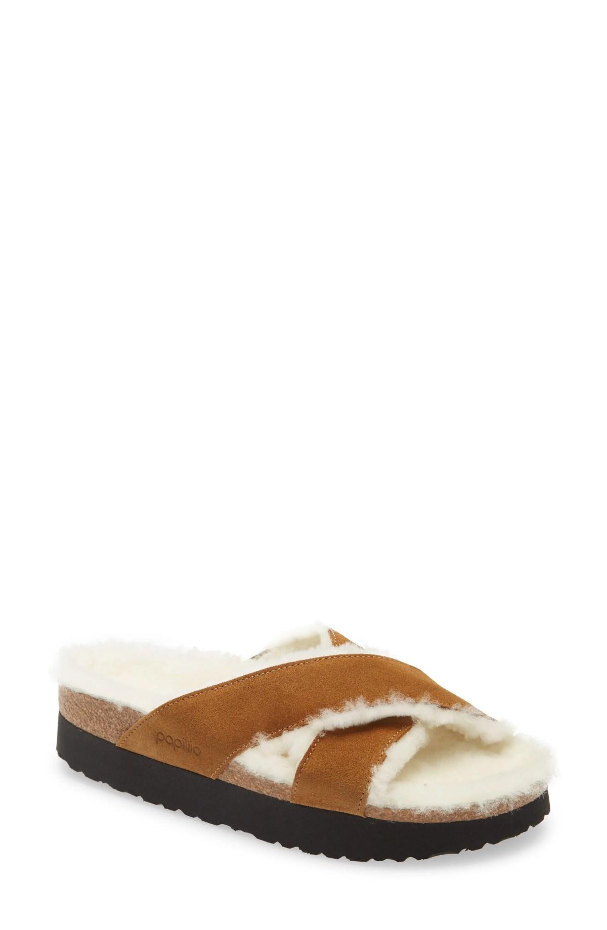 BIRKENSTOCK Daytona Genuine Shearling Lined Platform Sandal, Main, color, TEA SUEDE