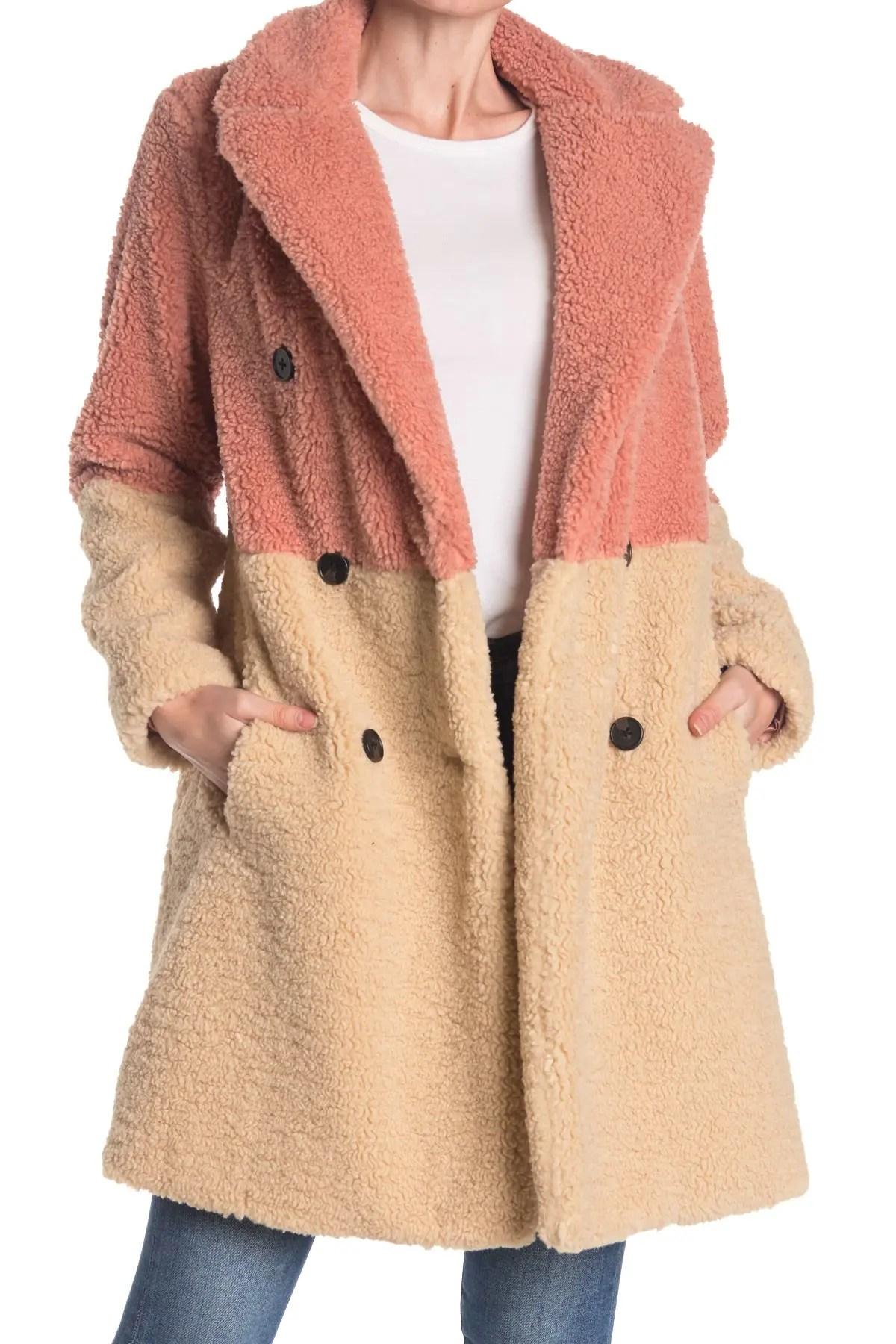 colorblock faux fur fuzzy coat