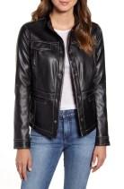 Faux Leather Shirt Jacket, Main, color, BLACK