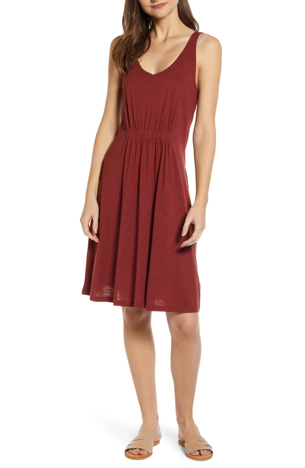 Sleeveless Knit Dress, Main, color, BURGUNDY RUSSET