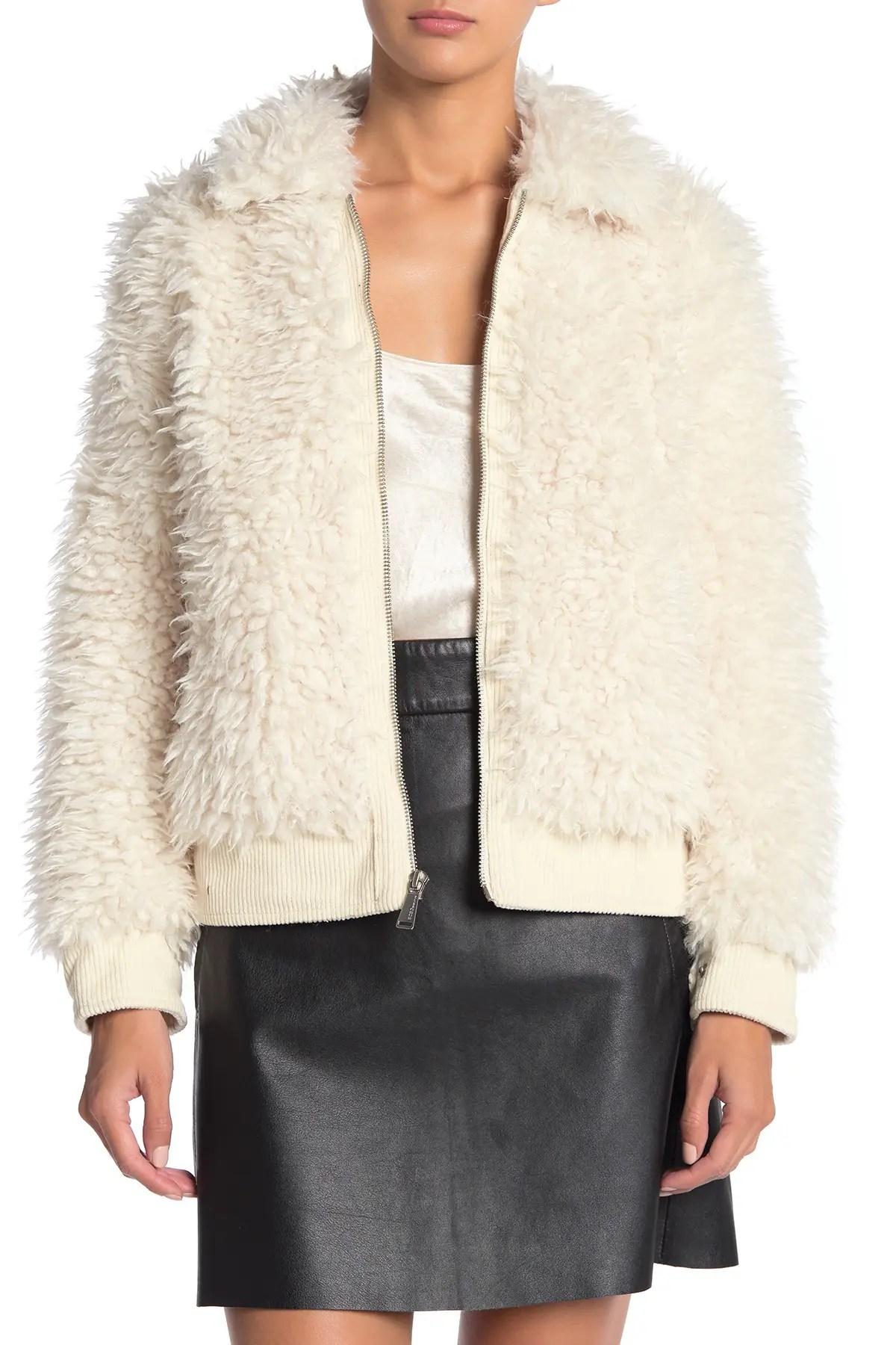 bcbg zip front faux fur jacket nordstrom rack