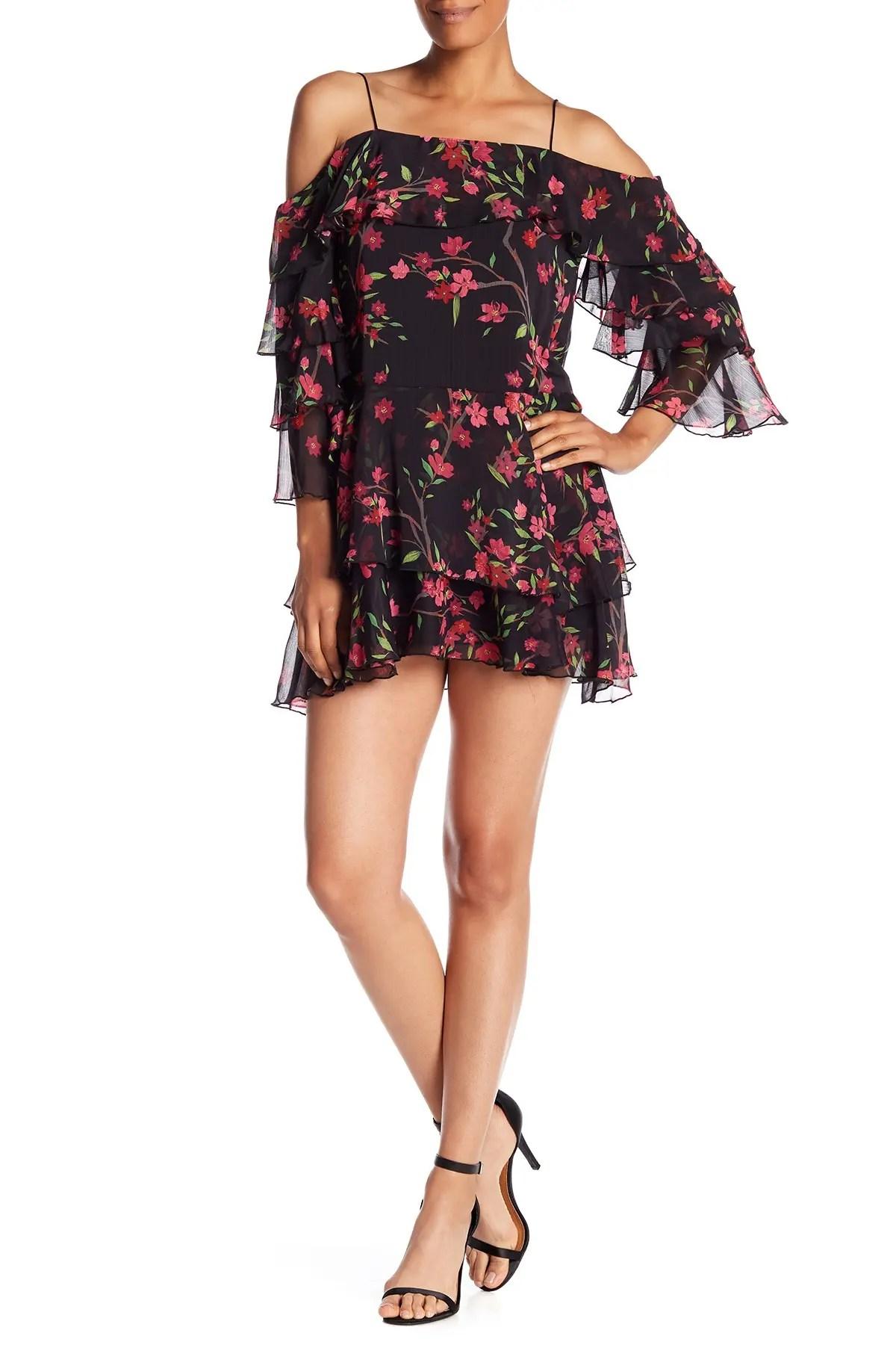 alice olivia lexis silk blend cold shoulder mini dress nordstrom rack