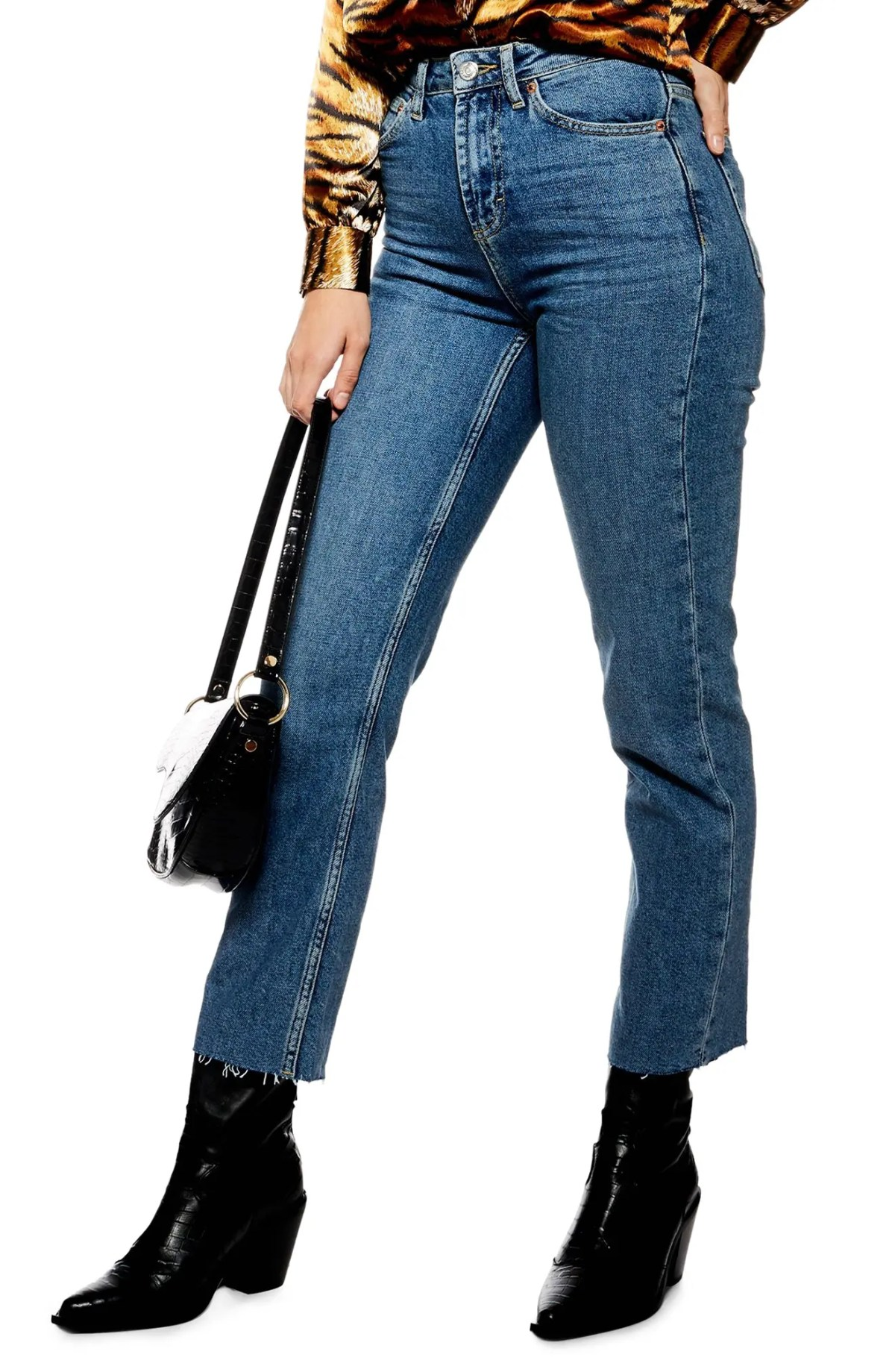 TOPSHOP Straight Leg Raw Hem Jeans, Main, color, DENIM