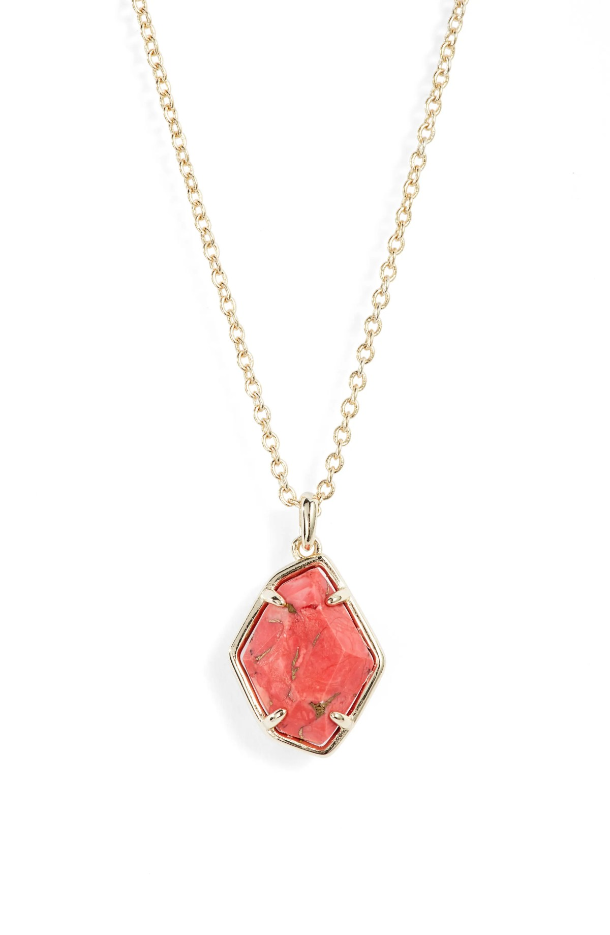 Ellington Pendant Necklace, Main, color, GOLD/ BRONZE VEINED/ RED