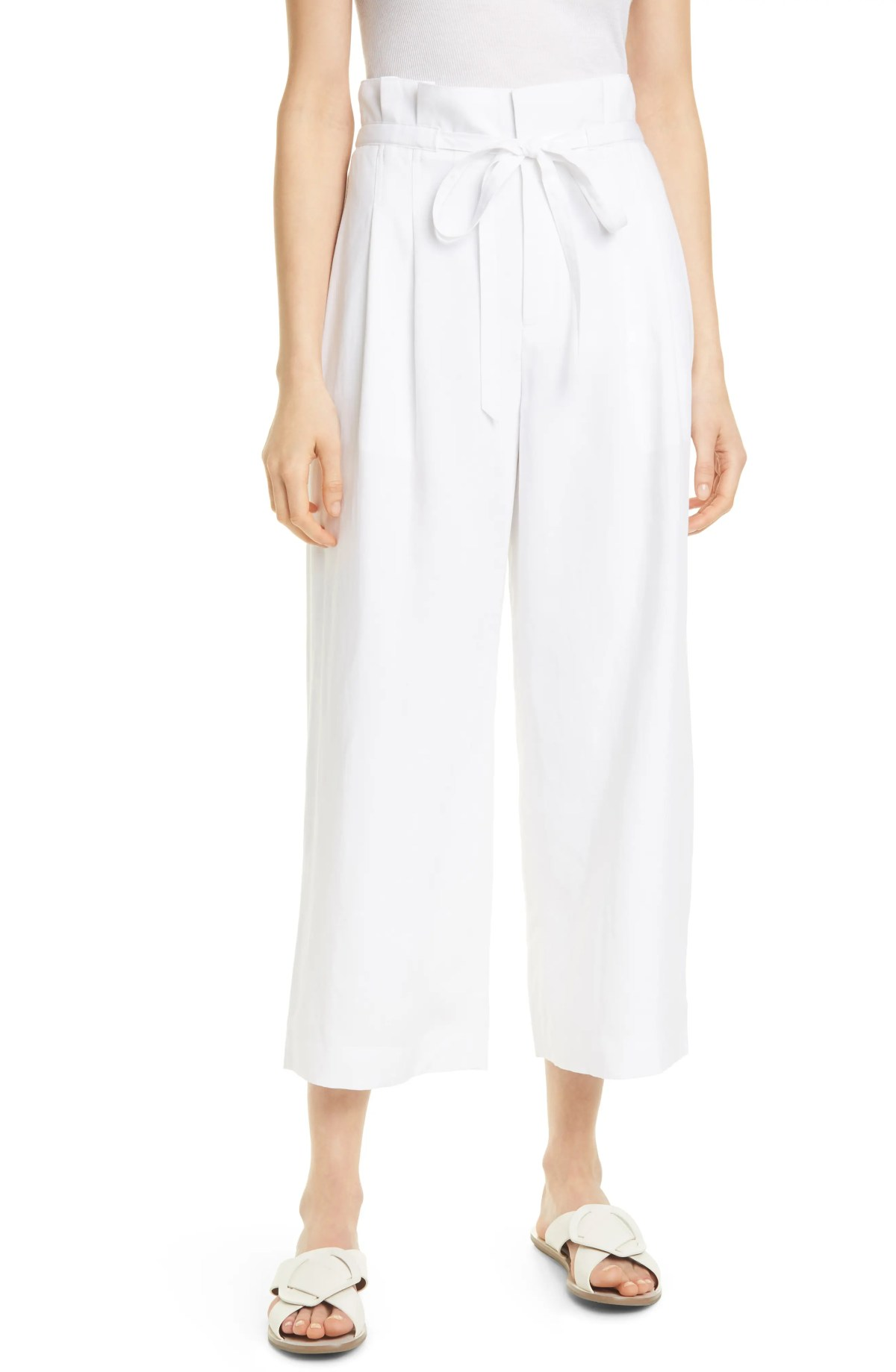 CLUB MONACO Paperbag Waist Wide Leg Crop Pants, Main, color, WHITE