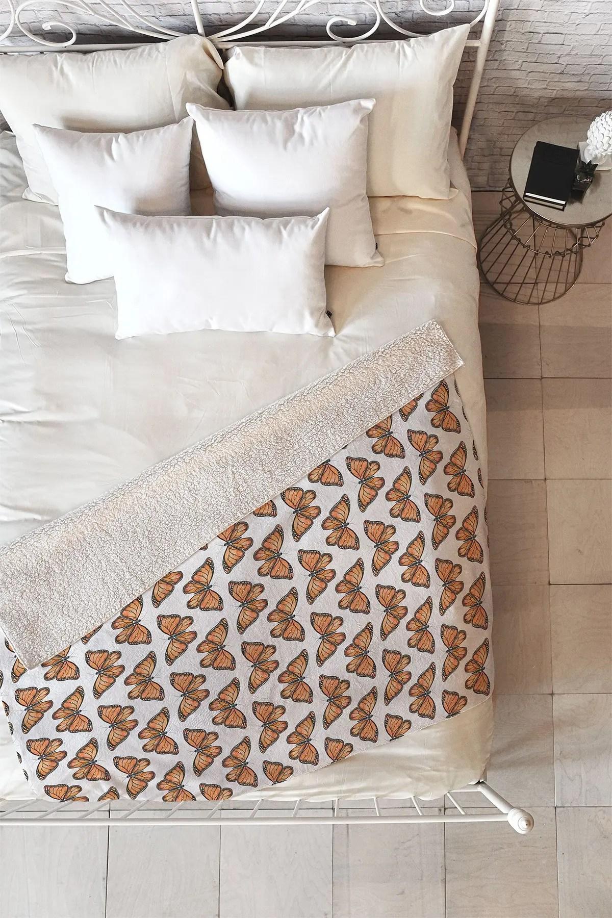 deny designs avenie monarch butterfly orange faux shearling fleece throw blanket nordstrom rack