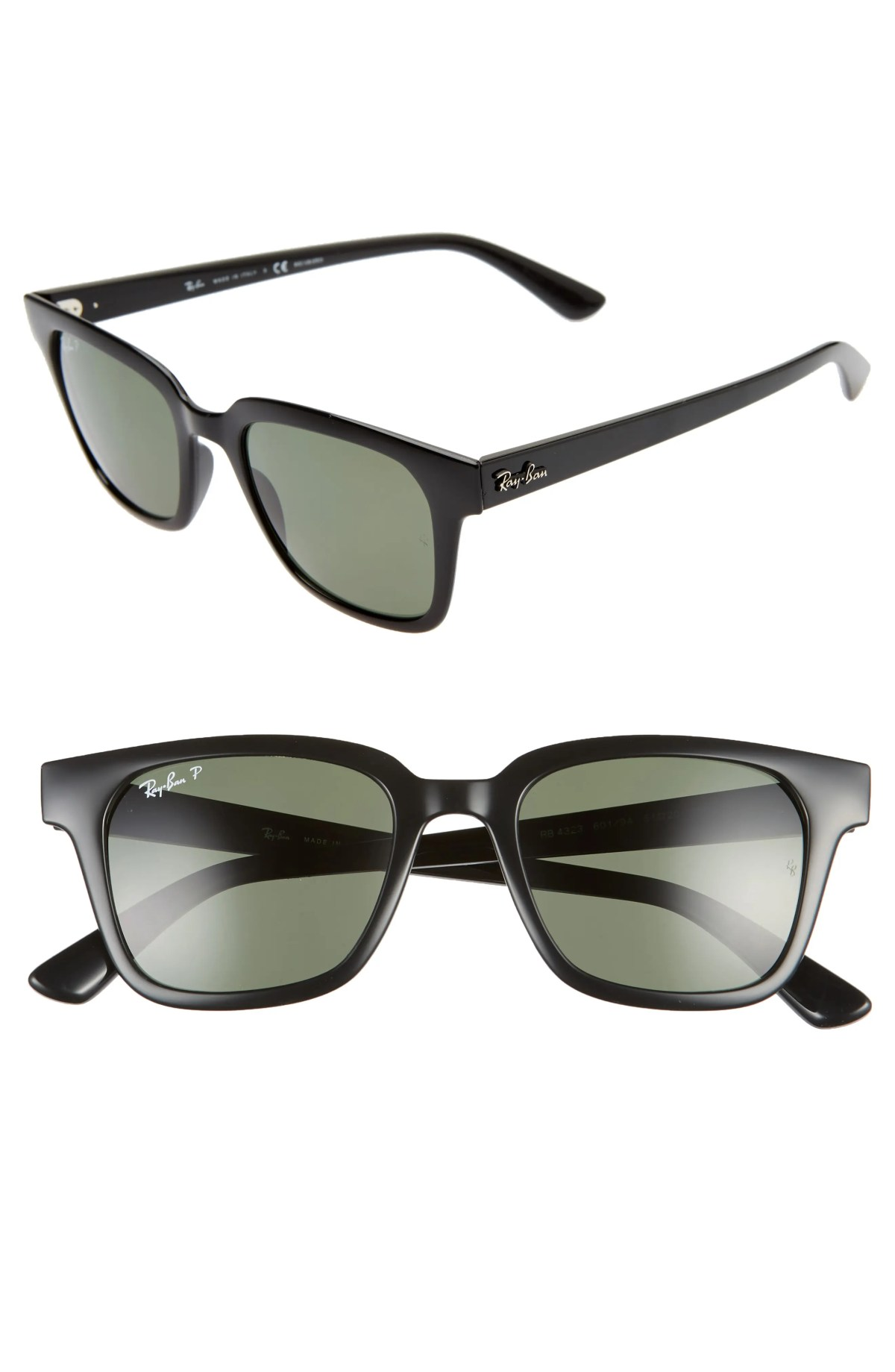 RAY-BAN Wayfarer 51mm Polarized Sunglasses, Main, color, BLACK/ DARK GREEN POLAR