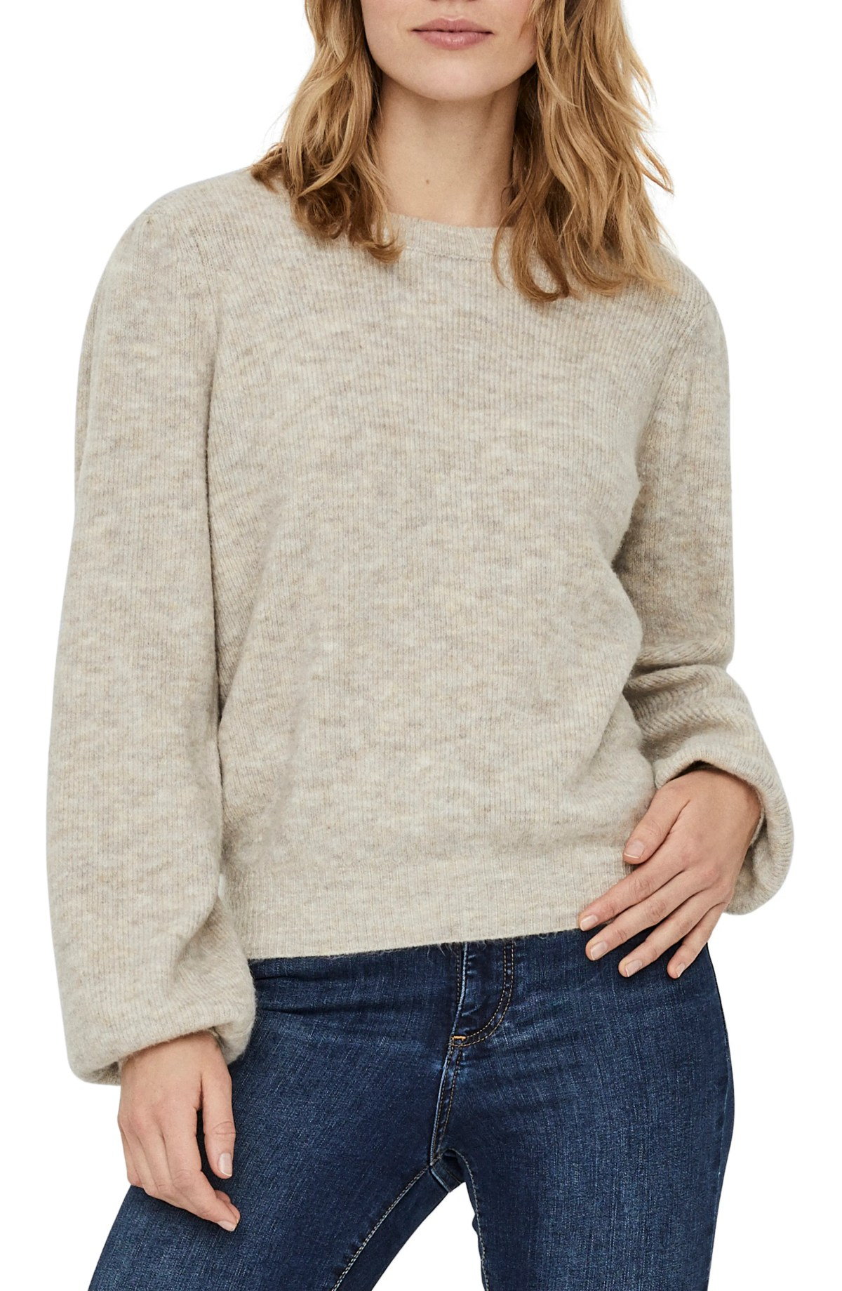 VERO MODA Lefile Puff Sleeve Ribbed Sweater, Main, color, BIRCH