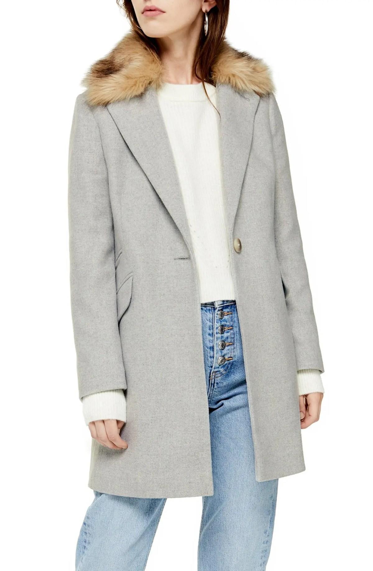 TOPSHOP Monica Faux Fur Collar Coat, Main, color, GREY MARL