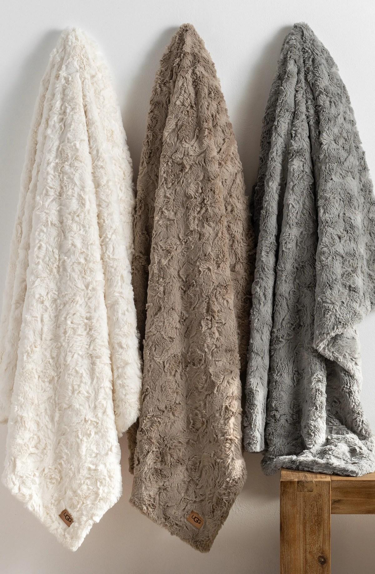 UGG<SUP>®</SUP> Adalee Faux Fur Throw Blanket, Alternate, color, SEAL