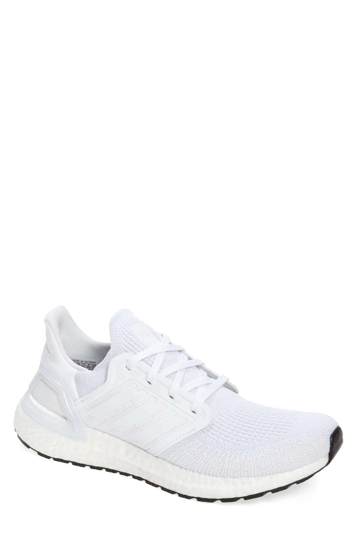 ADIDAS UltraBoost 20 Running Shoe, Main, color, WHITE/ GREY THREE F17/ BLACK