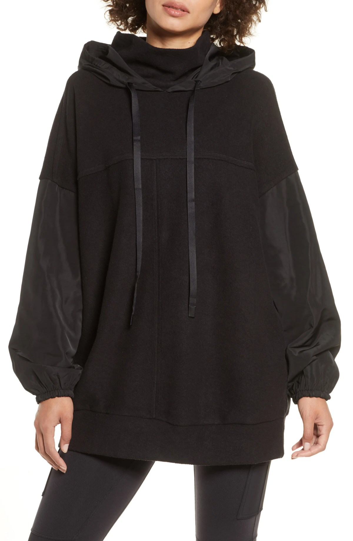 ALO Mixed Media Hooded Sweatshirt, Main, color, BLACK