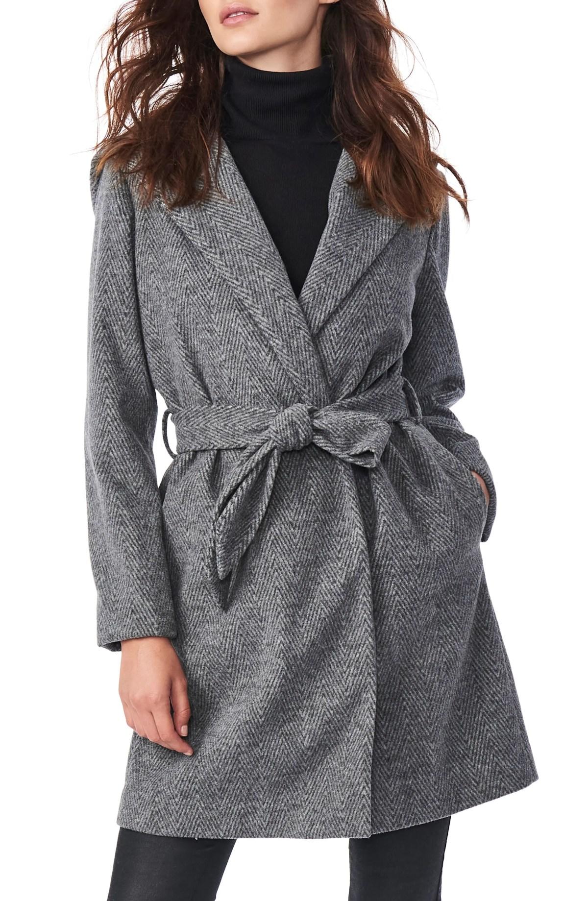 BERNARDO Herringbone Belted Hooded Wrap Coat, Main, color, GREY HERRINGBONE