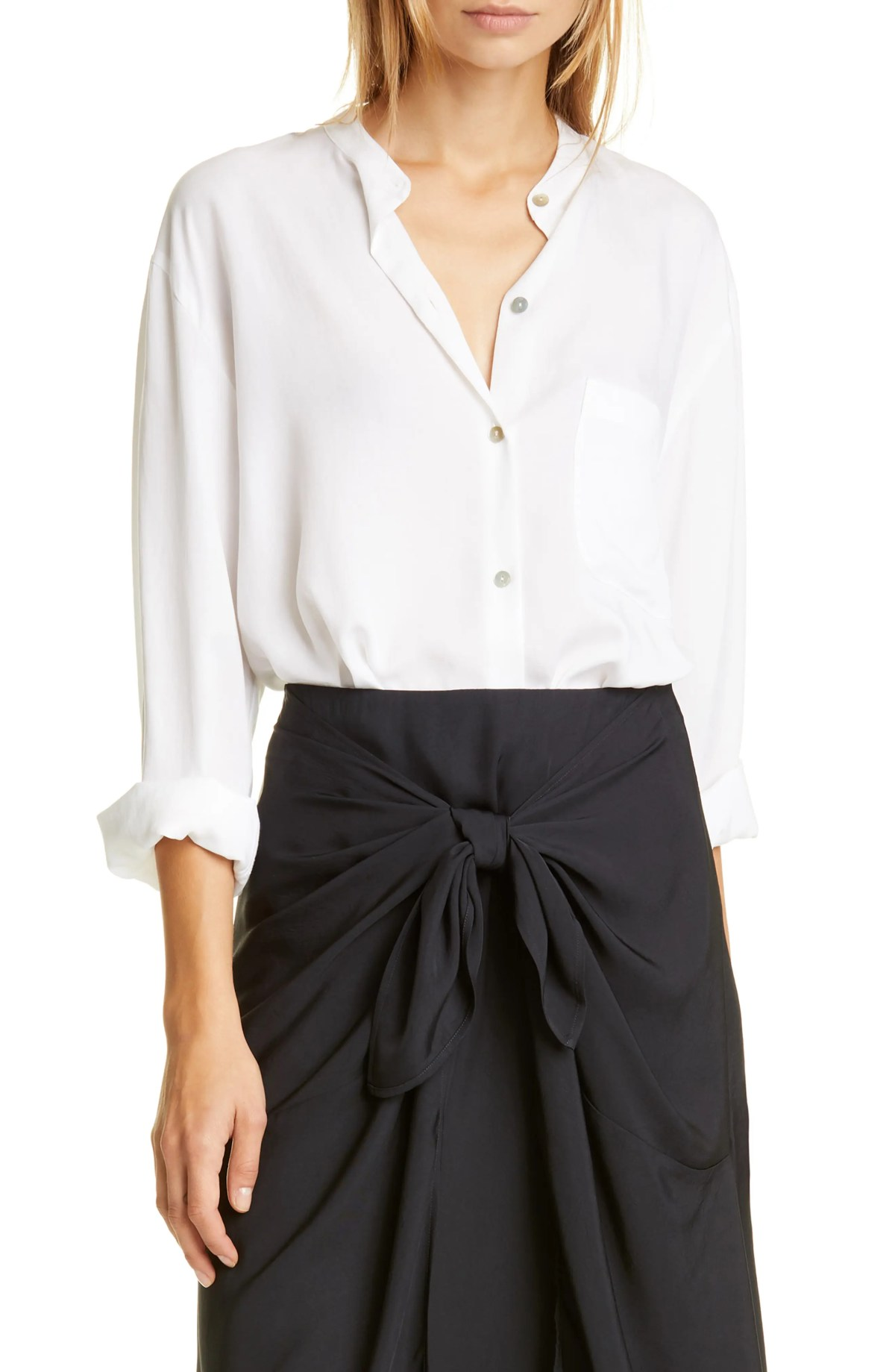 VINCE Relaxed Band Collar Blouse, Main, color, OFF WHITE