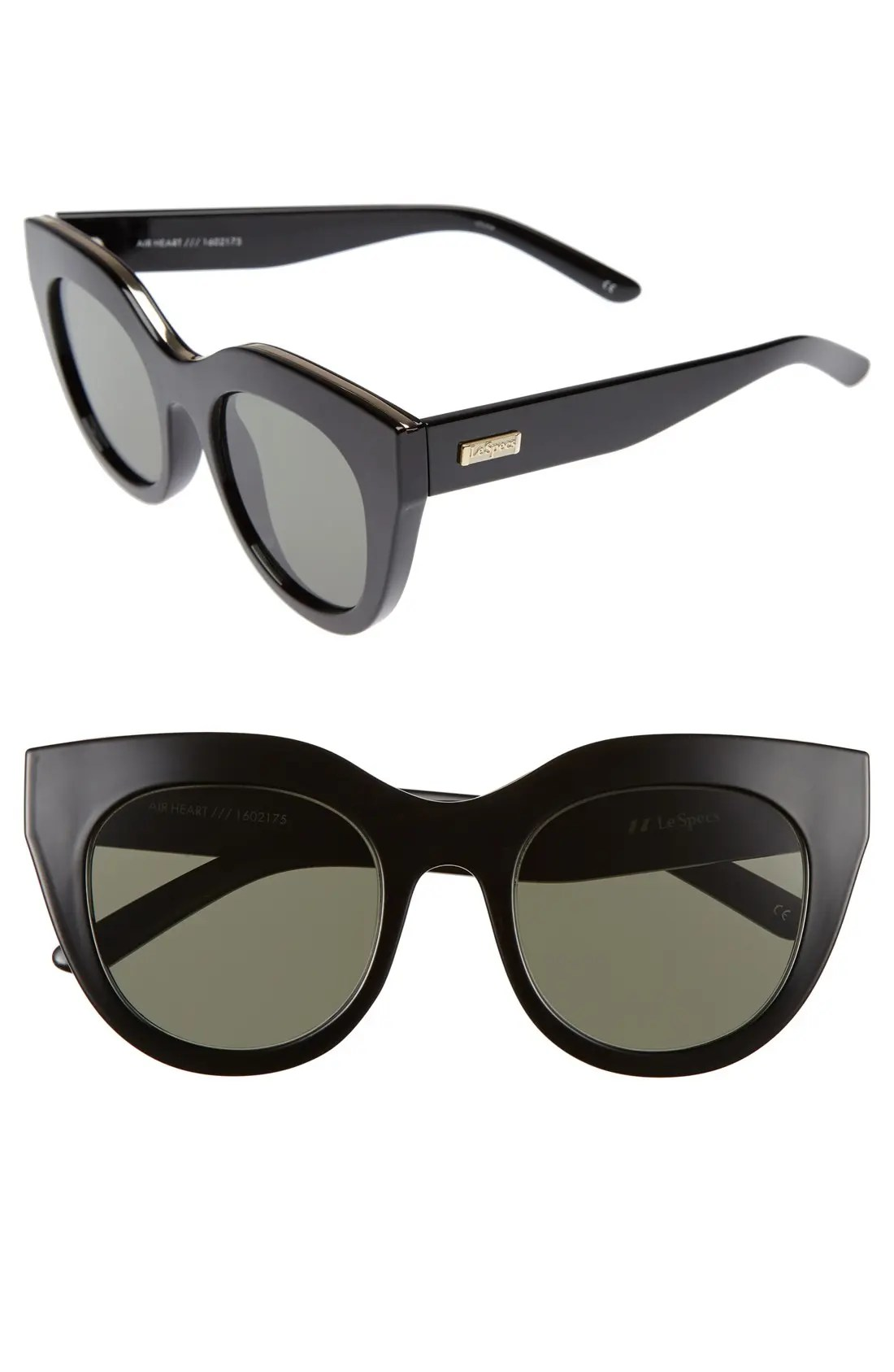 LE SPECS Air Heart 51mm Sunglasses, Main, color, BLACK/ GOLD